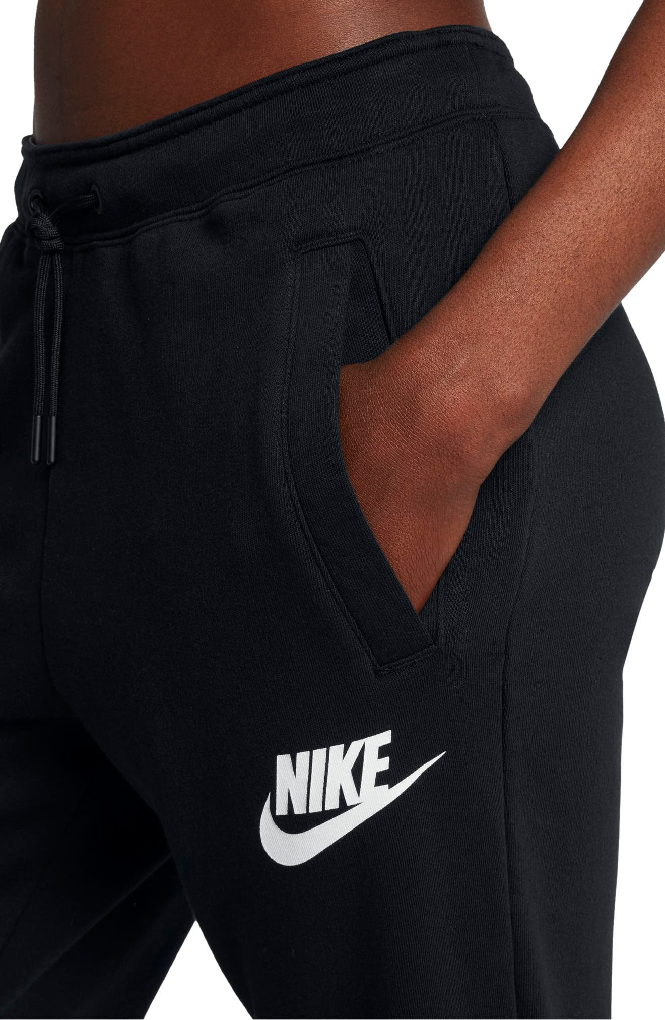 Sportswear Rally Fleece Pants,                             Alternate thumbnail 4, color,                             Black/ Black/ White