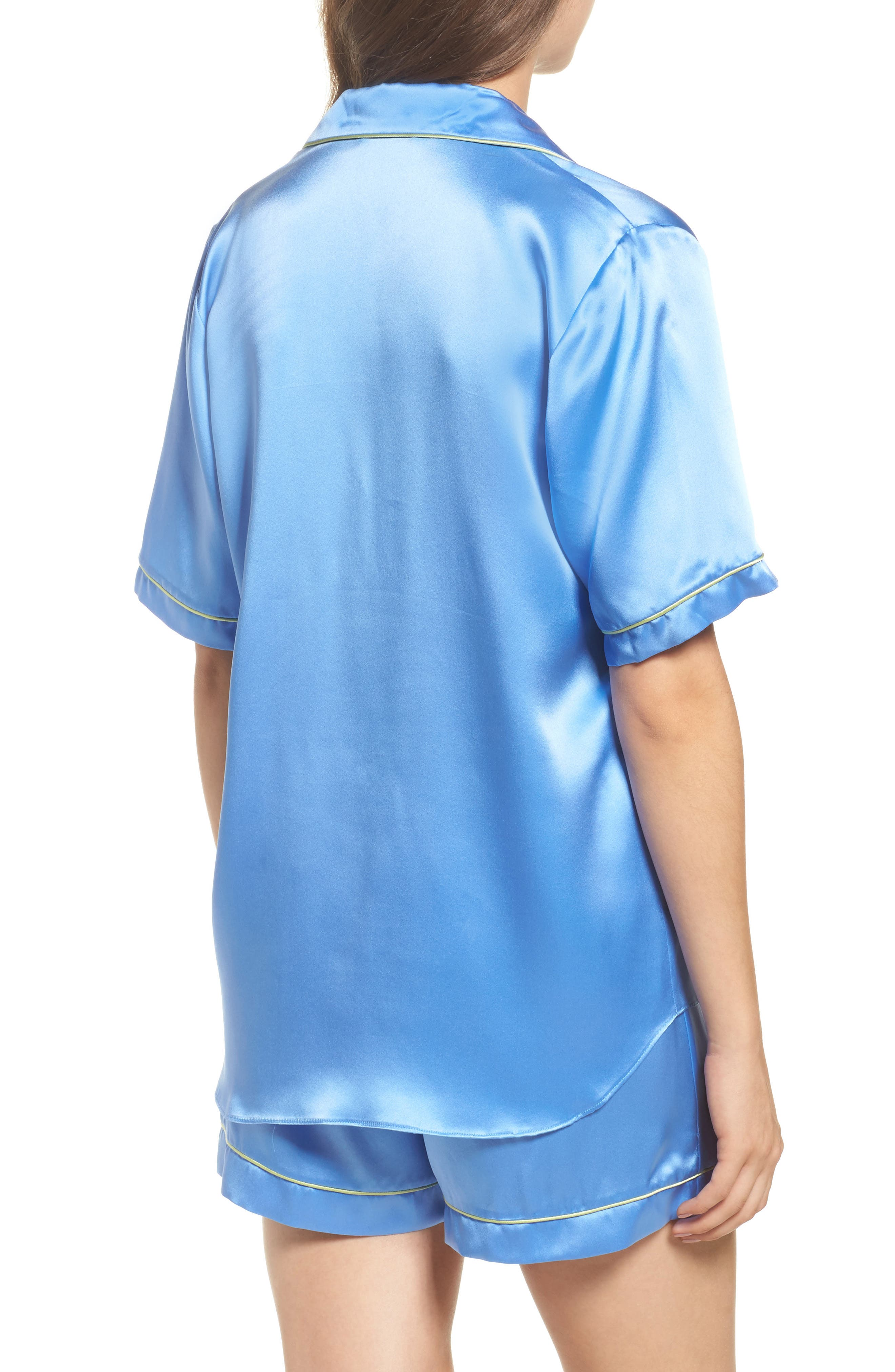 Silk Short Pajamas,                             Alternate thumbnail 2, color,                             Mediterranean Blue / Keylime