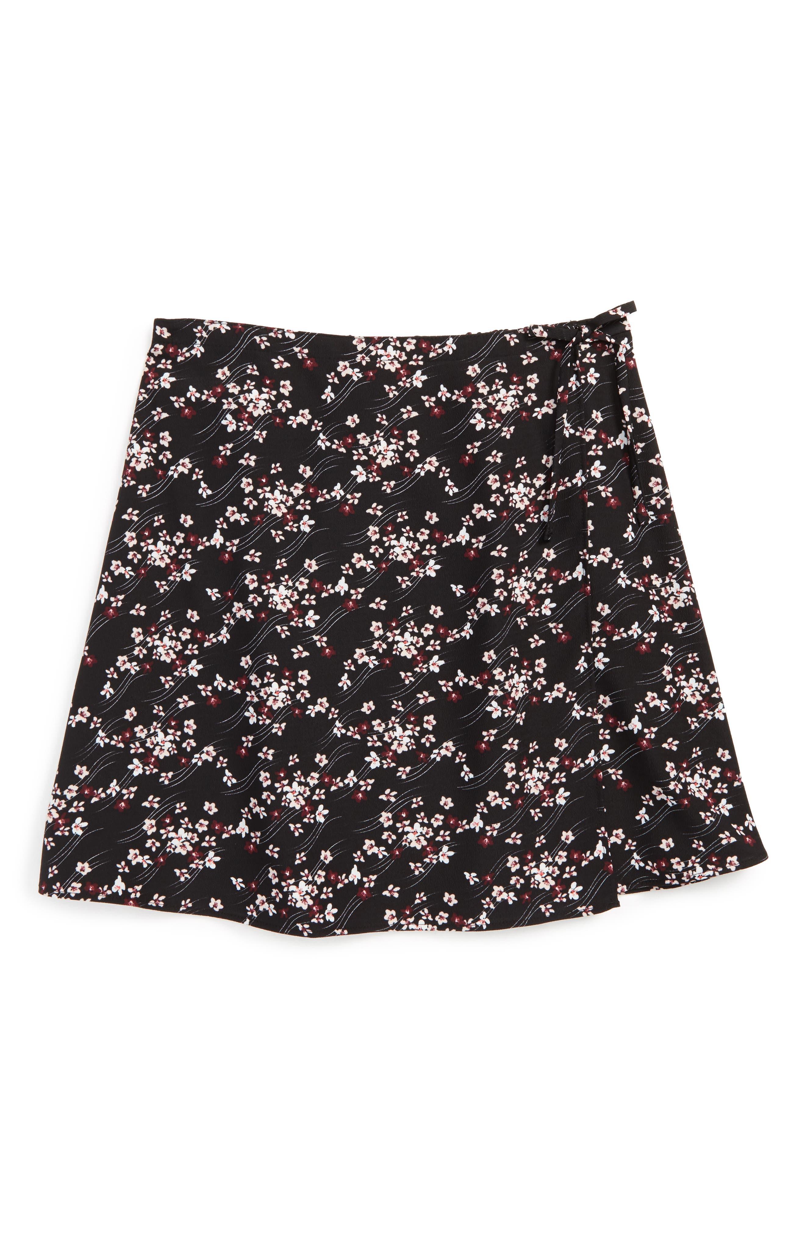 Main Image - Maddie Floral Print Wrap Skirt (Big Girls)