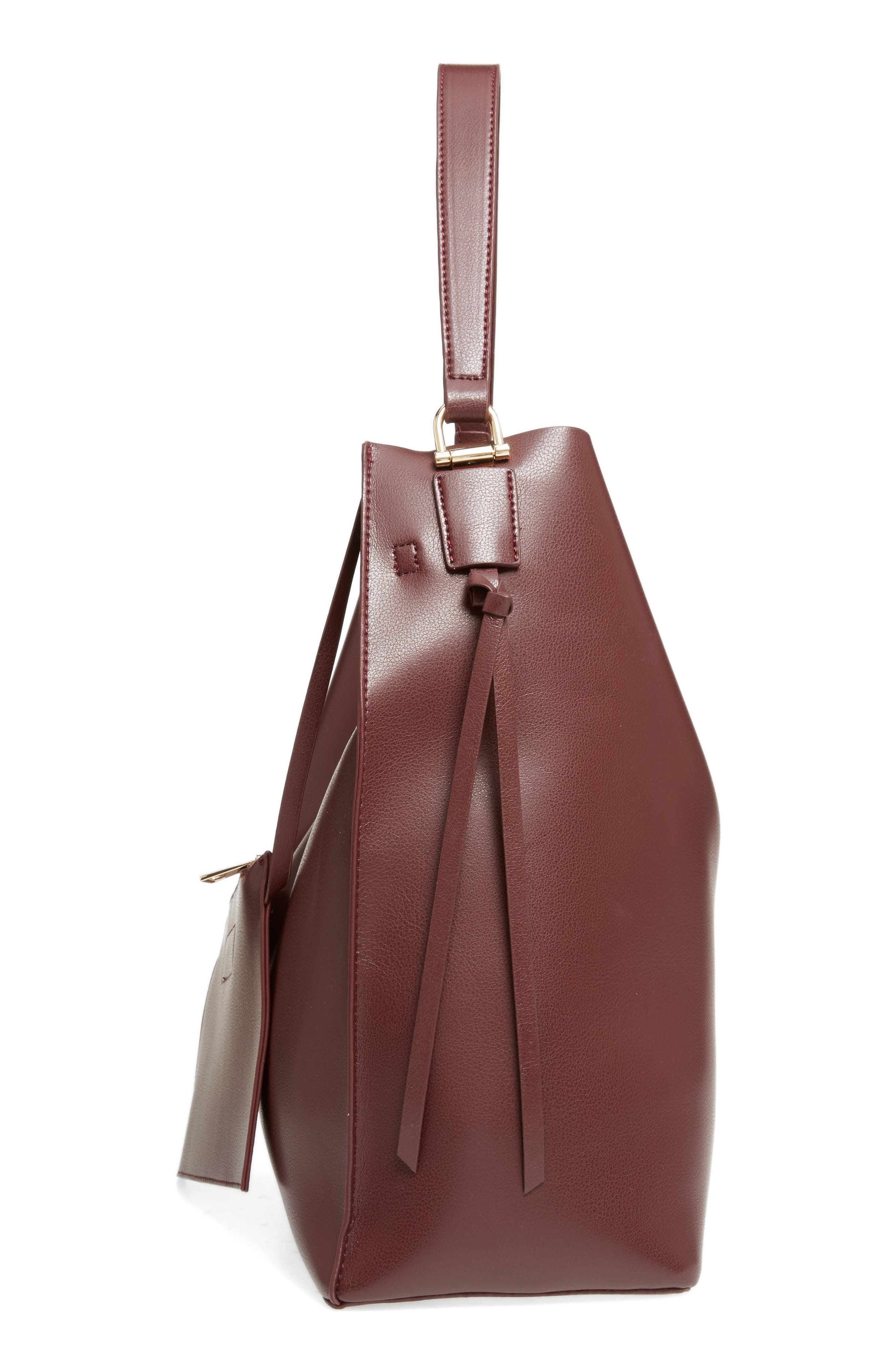 Prima Faux Leather Bucket Bag & Zip Pouch,                             Alternate thumbnail 4, color,                             Oxblood