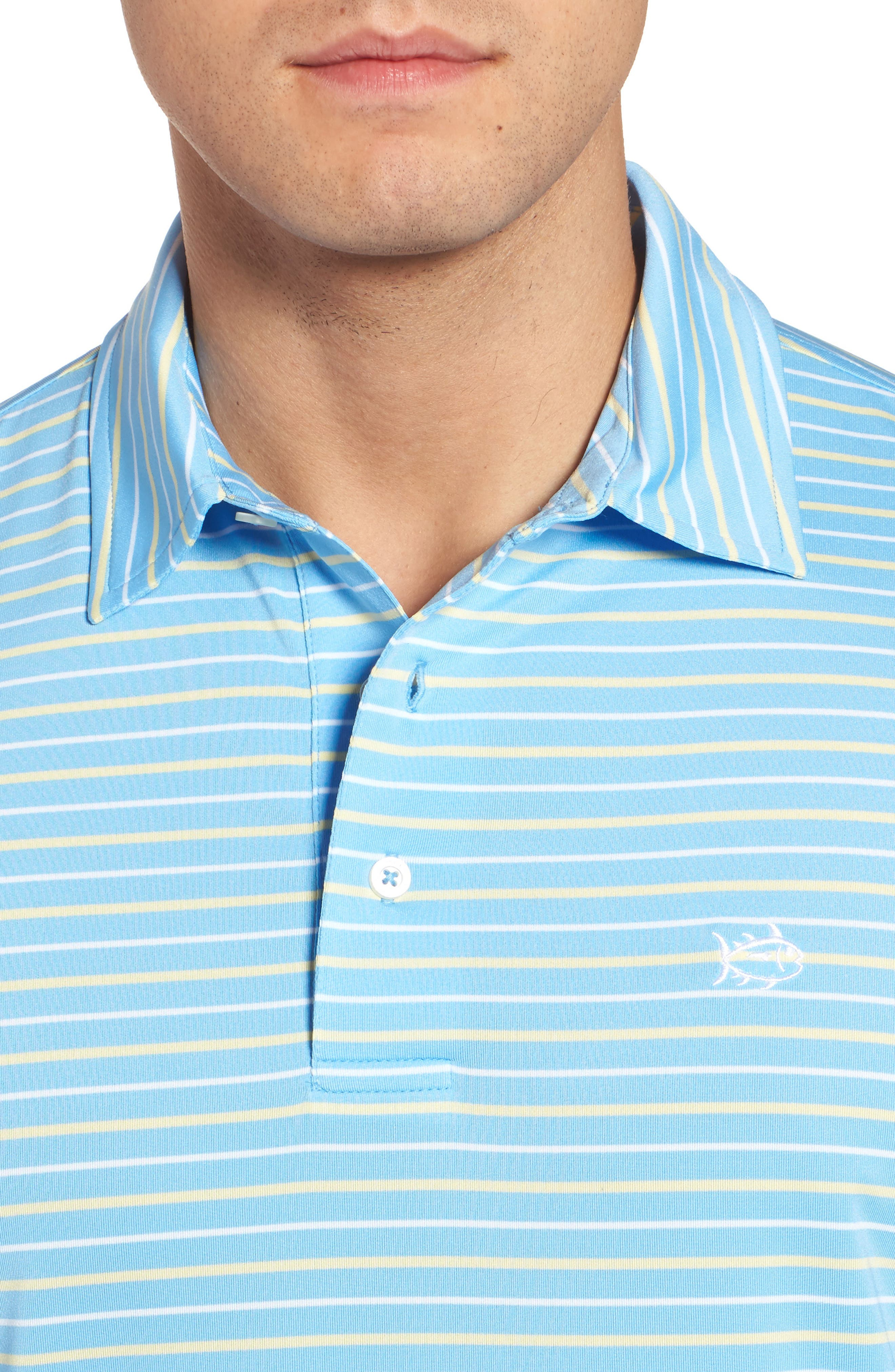 Driver Tico Stripe Polo,                             Alternate thumbnail 4, color,                             Ocean Channel