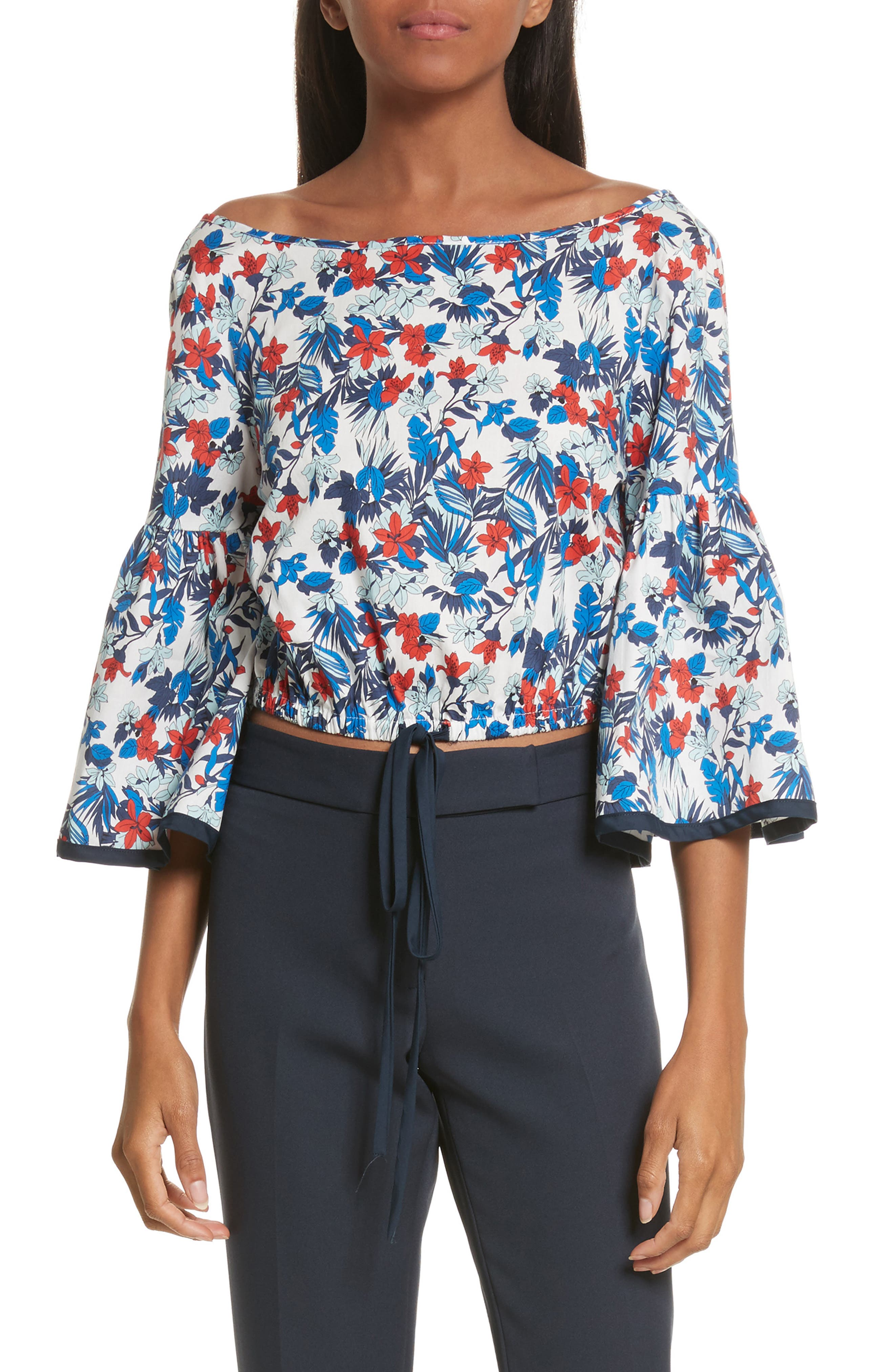 Hibiscus Print Stretch Cotton Top,                         Main,                         color, Blue Multi