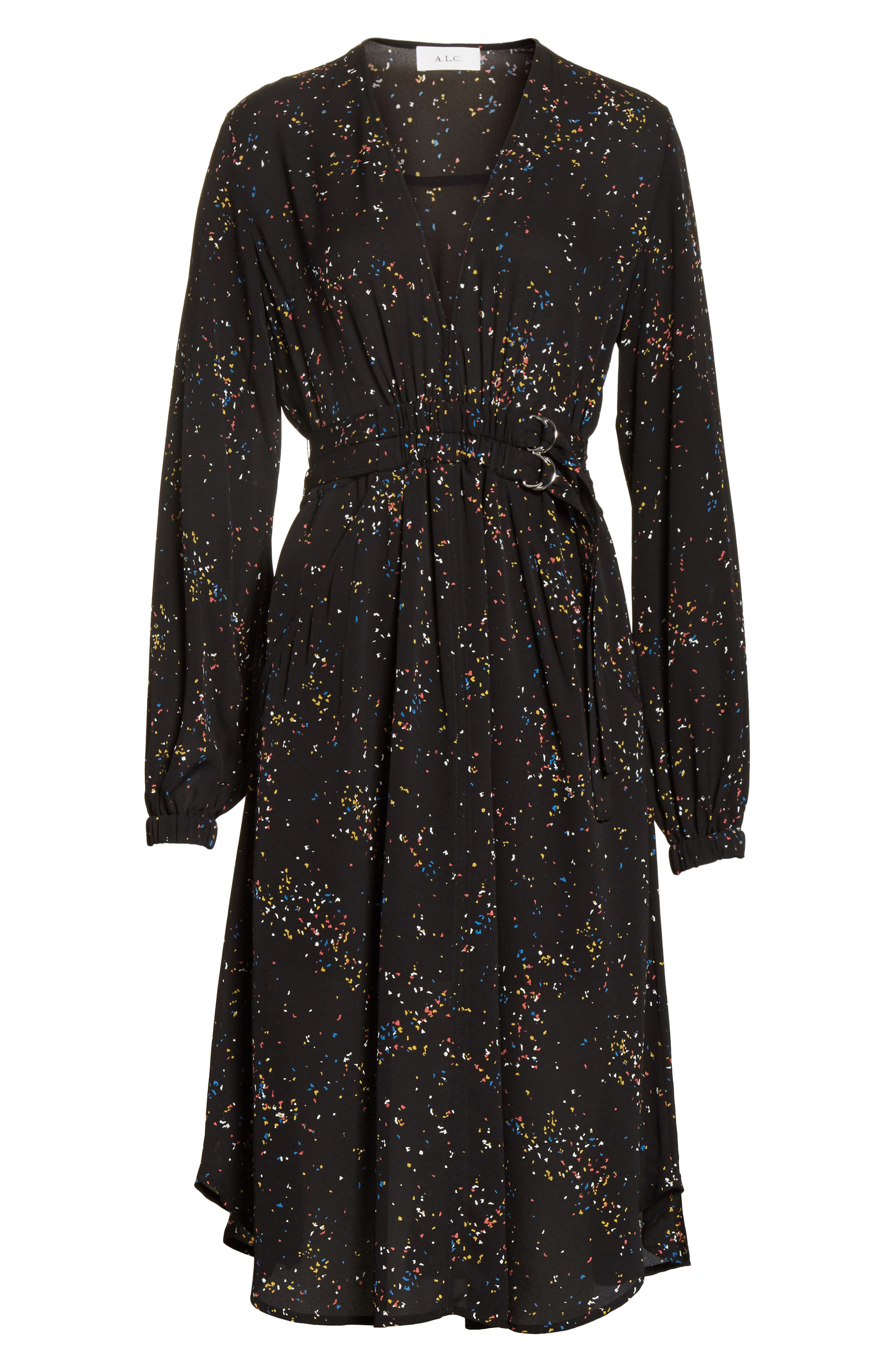 Samantha Print Silk Dress,                             Alternate thumbnail 6, color,                             Black Multi
