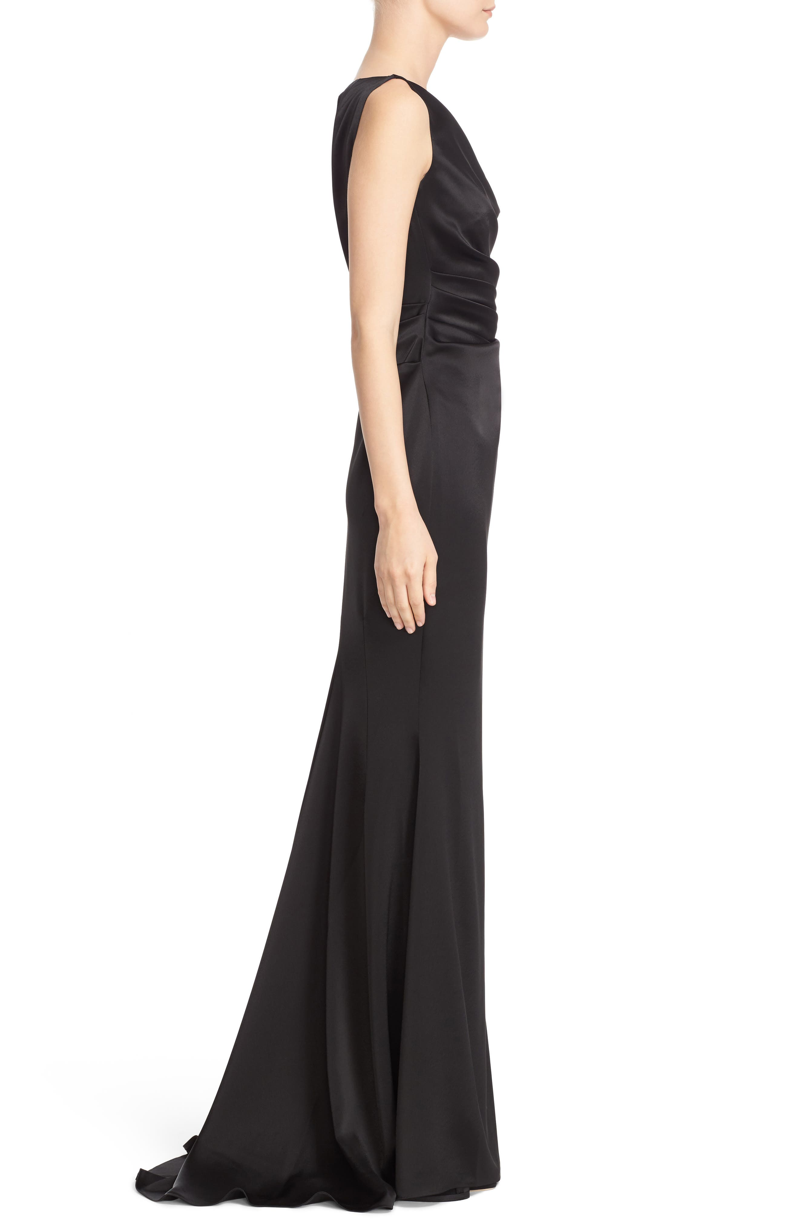 Drape V-Neck Matte Crepe Column Gown,                             Alternate thumbnail 3, color,                             Black