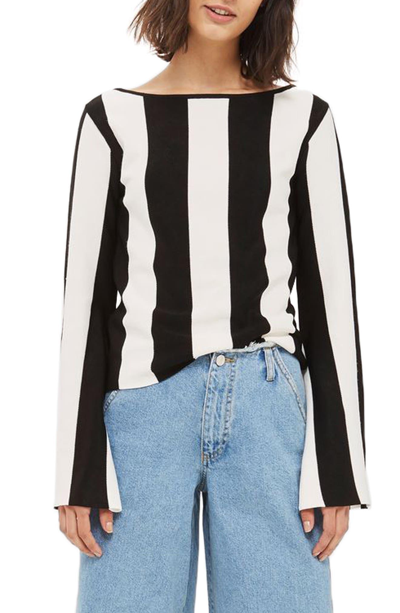 Stripe Split Sleeve Sweater,                             Main thumbnail 1, color,                             Black Multi