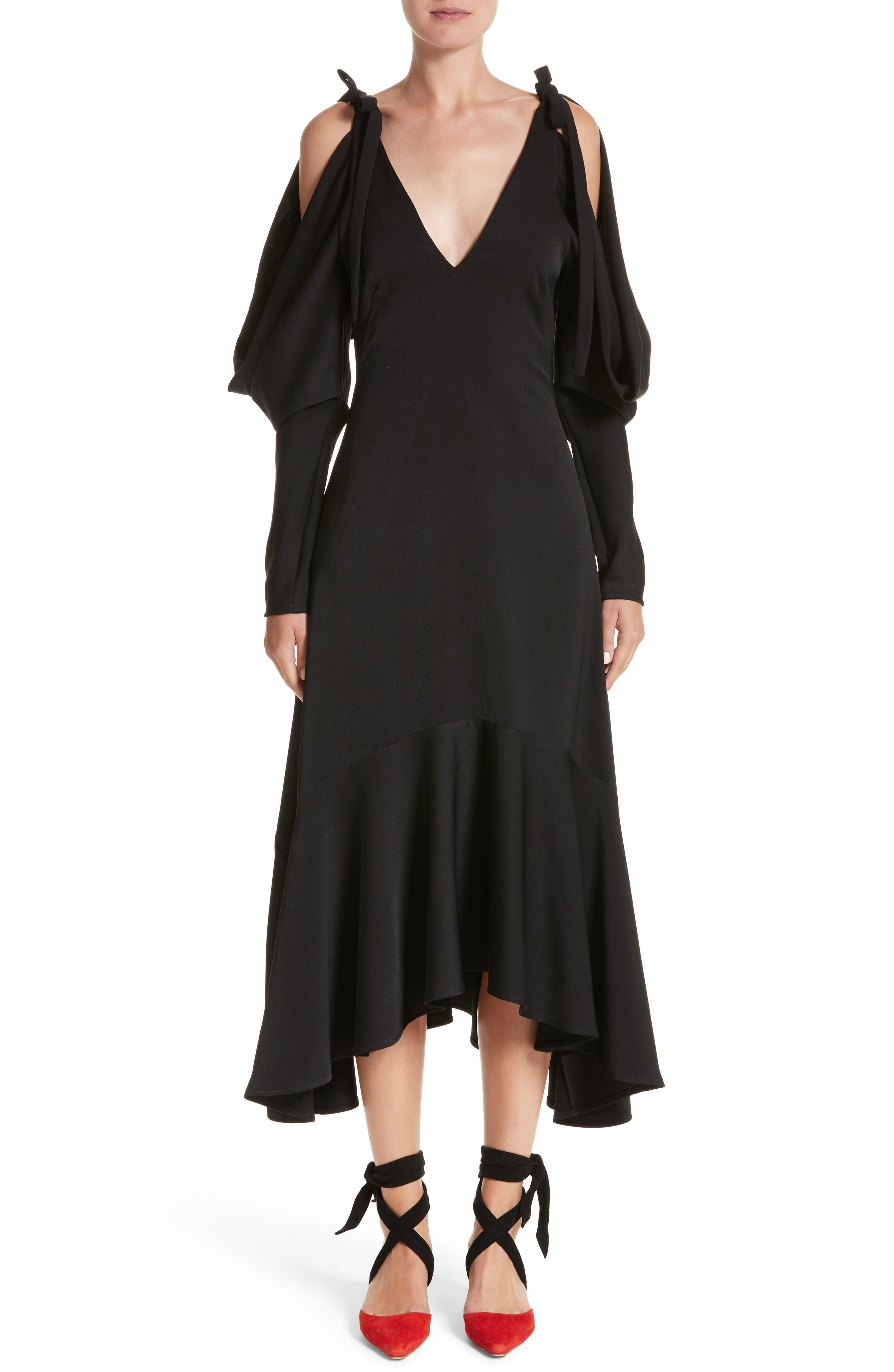 Open Back Cold Shoulder Dress,                             Main thumbnail 1, color,                             Crepe Satin Black