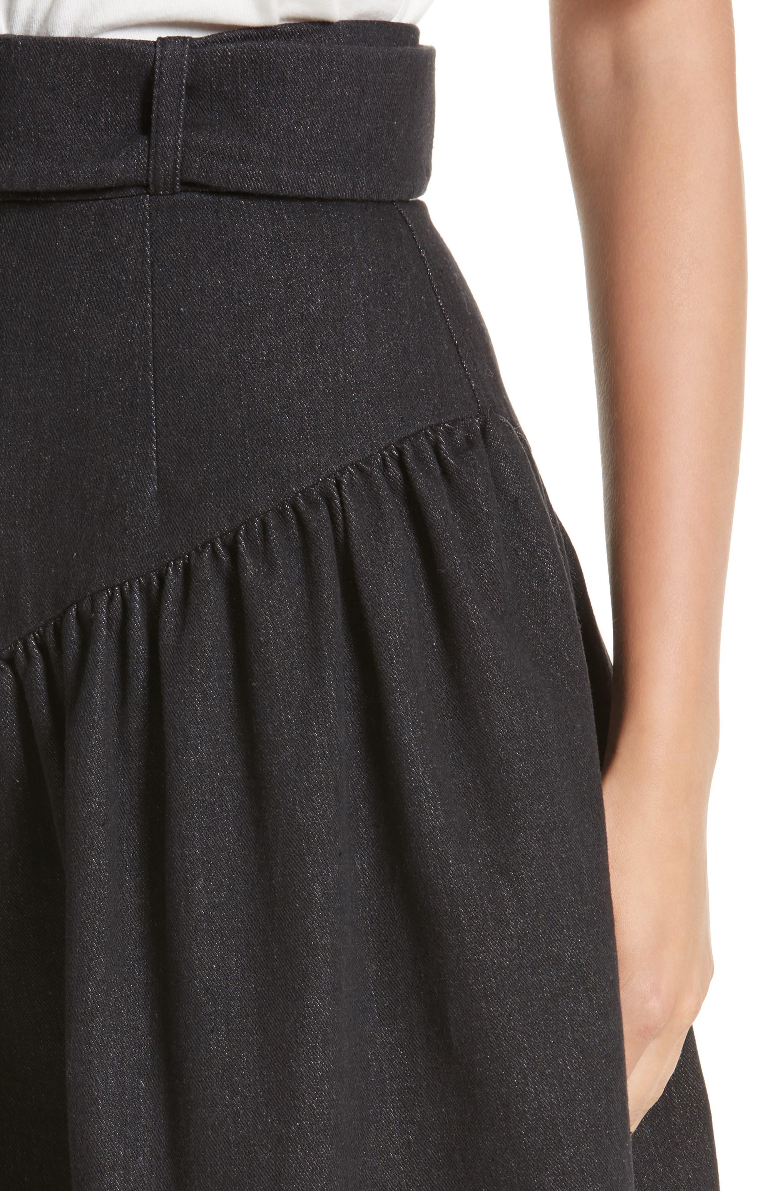 Belted Ruffle Denim Miniskirt,                             Alternate thumbnail 4, color,                             Cotton Denim Black
