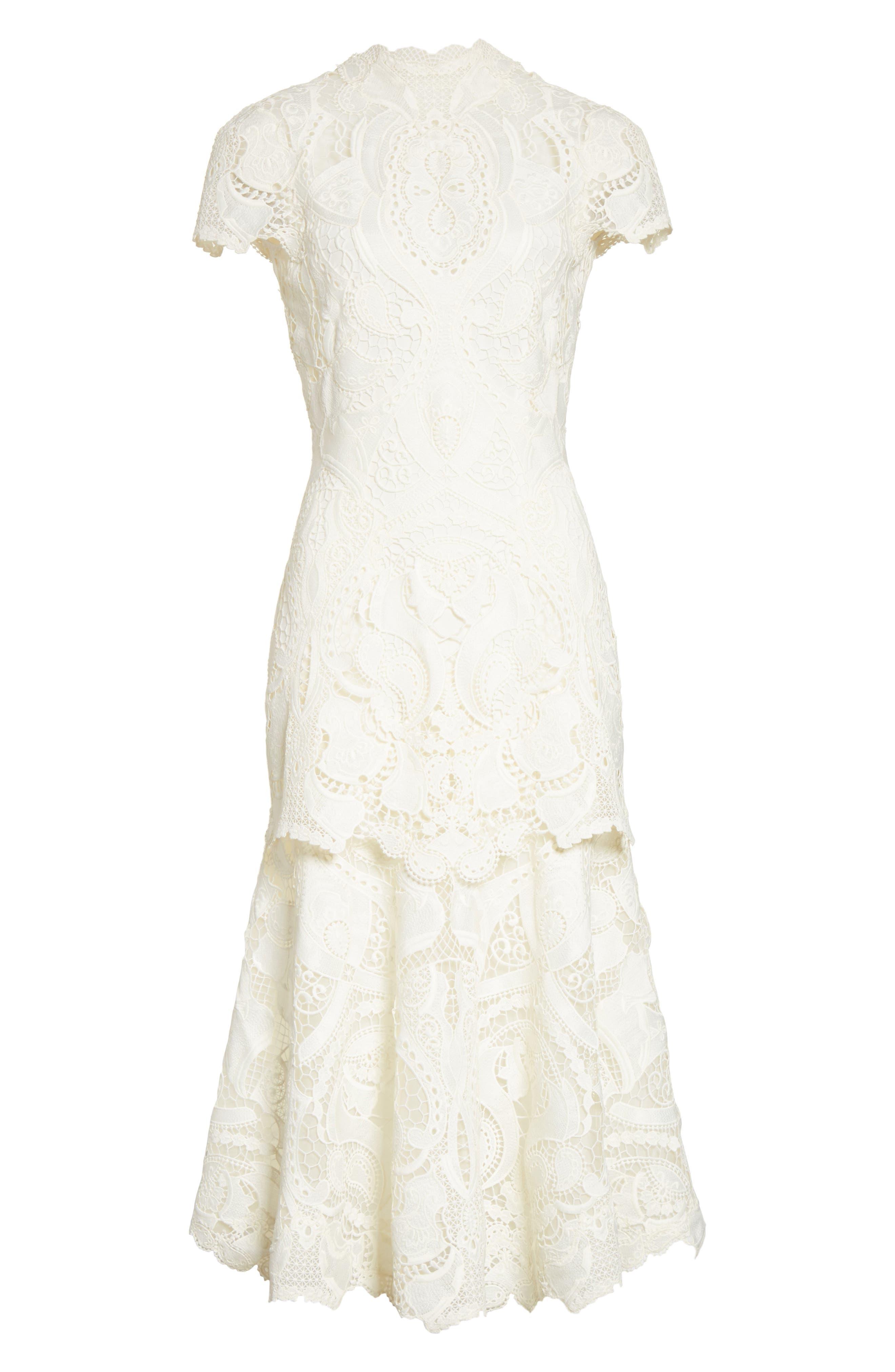 Appliqué Lace Midi Dress,                             Alternate thumbnail 6, color,                             Ivory