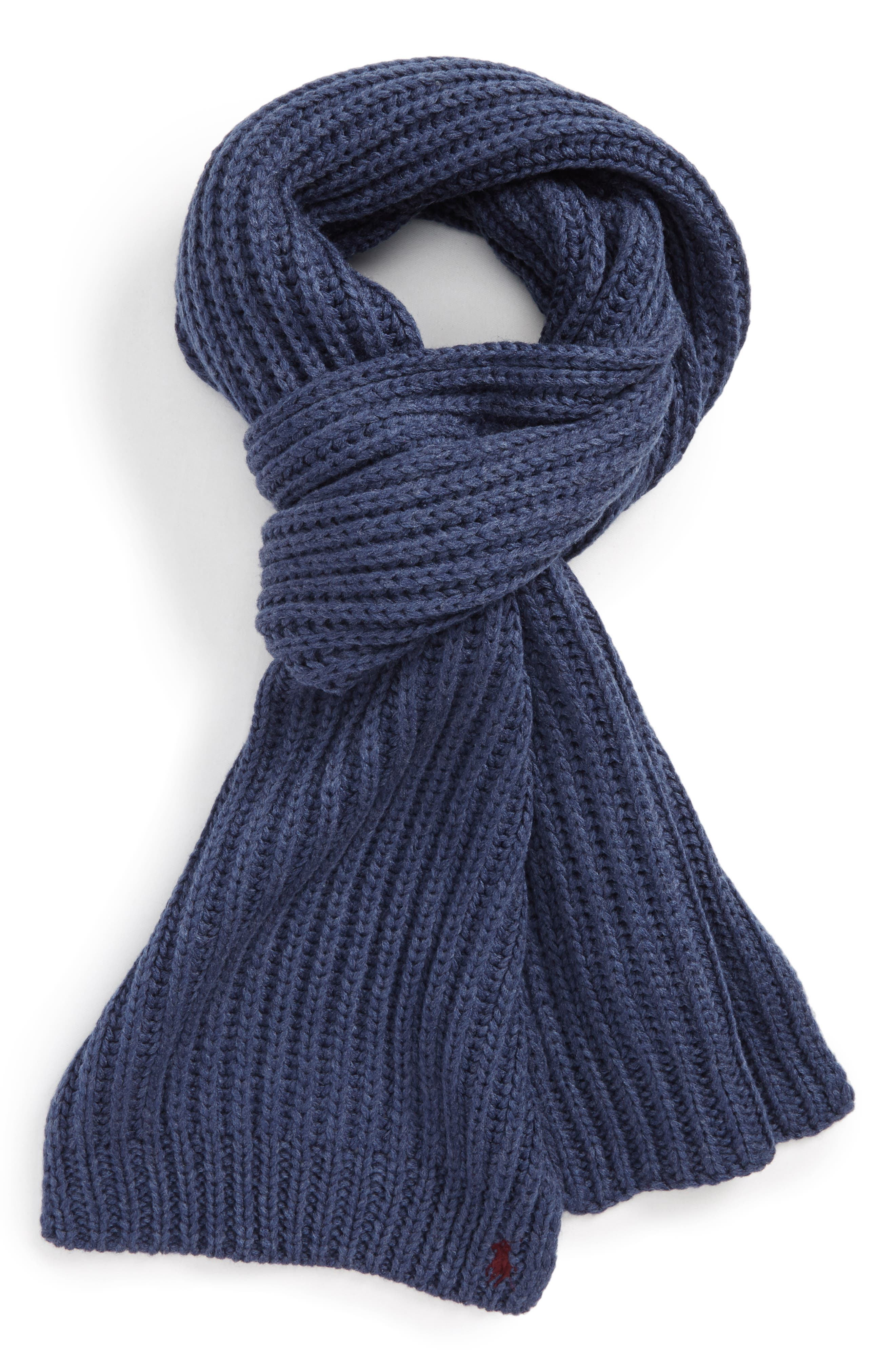 Polo Ralph Lauren Chunky Rib Knit Scarf. BLACK; HUNTER NAVY; SHALE BLUE  HEATHER ...