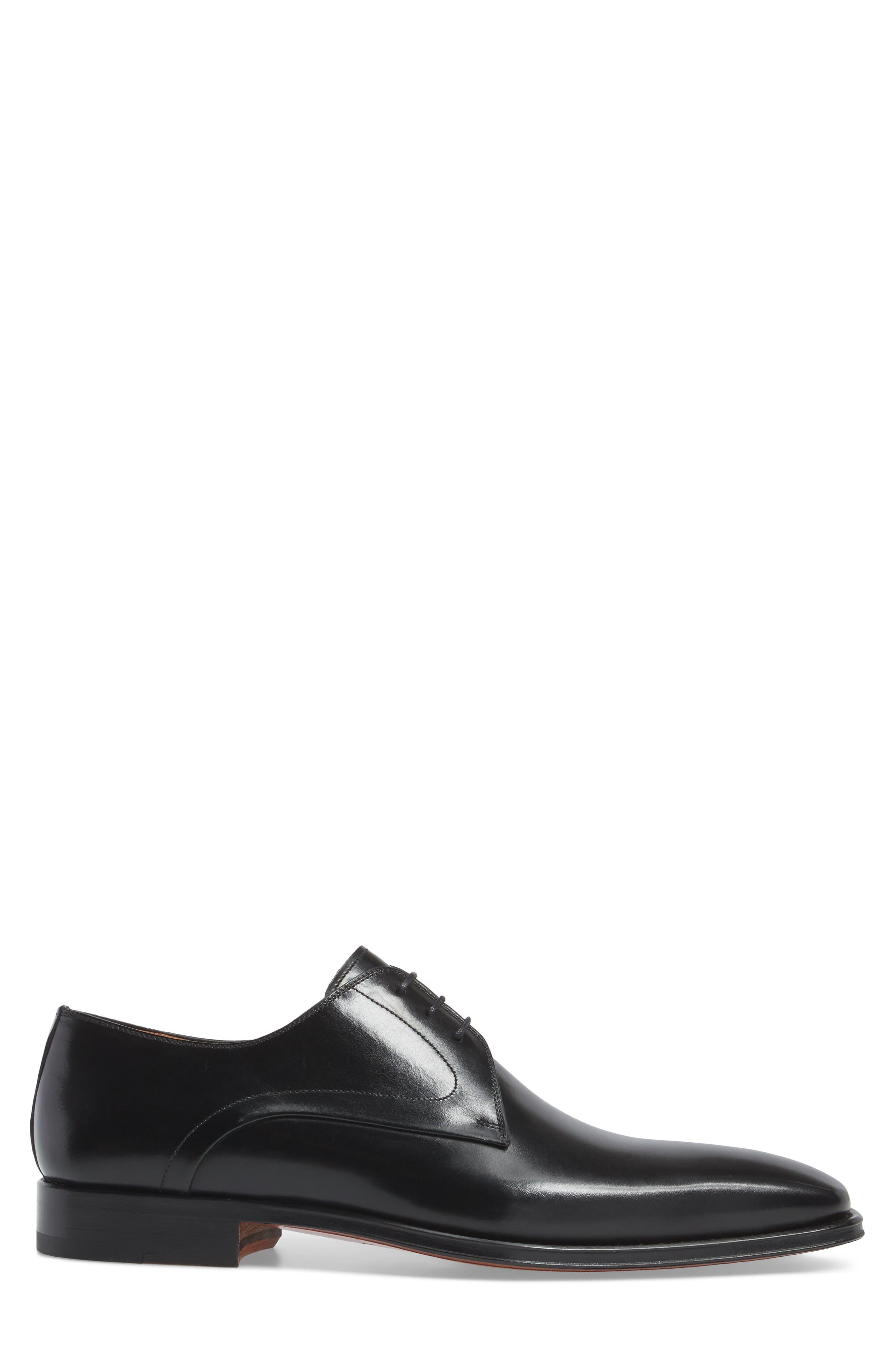 Mario Plain Toe Derby,                             Alternate thumbnail 3, color,                             Black Leather