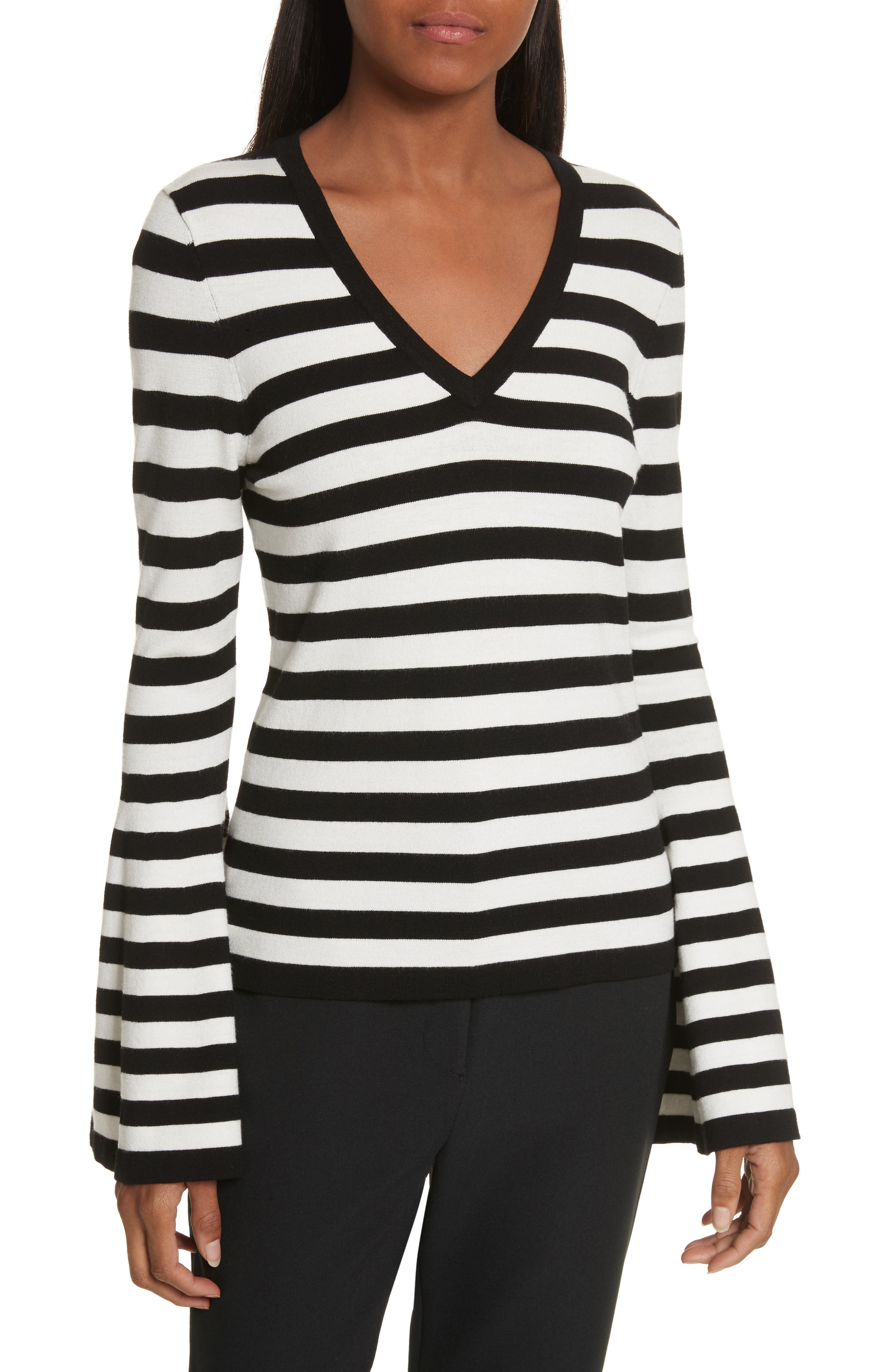 Bell Sleeve V-Neck Sweater,                         Main,                         color, Black/ White
