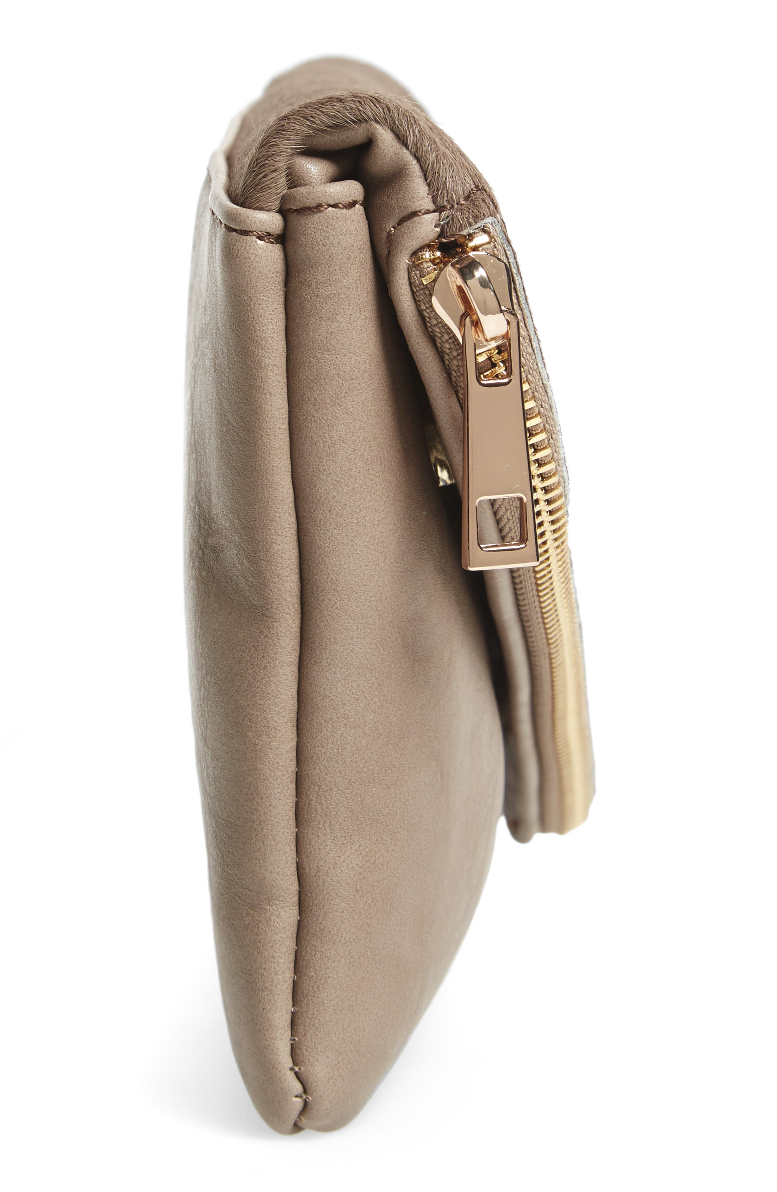 Tammi Genuine Calf Hair & Faux Leather Foldover Clutch,                             Alternate thumbnail 4, color,                             Taupe