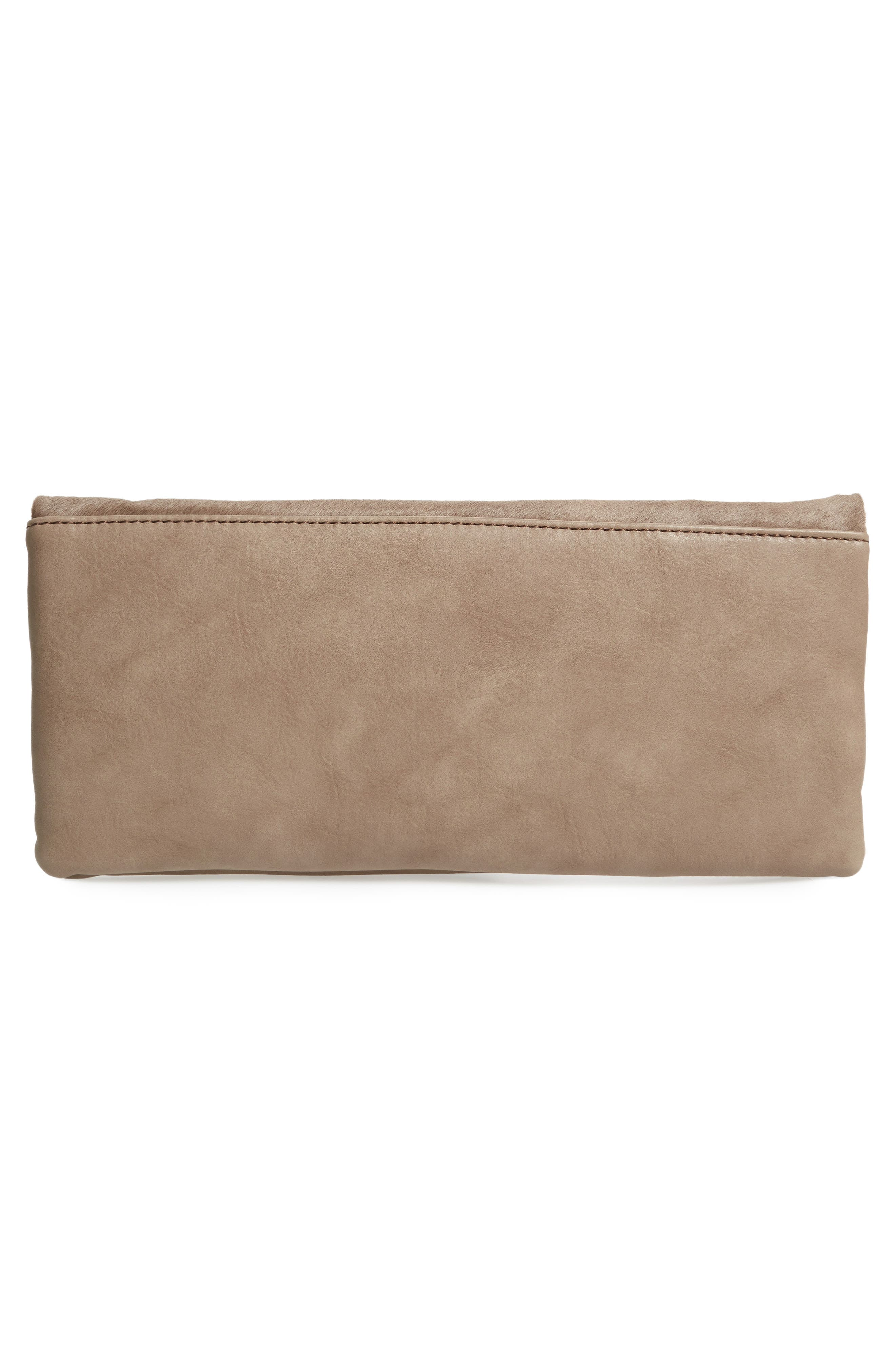 Tammi Genuine Calf Hair & Faux Leather Foldover Clutch,                             Alternate thumbnail 2, color,                             Taupe