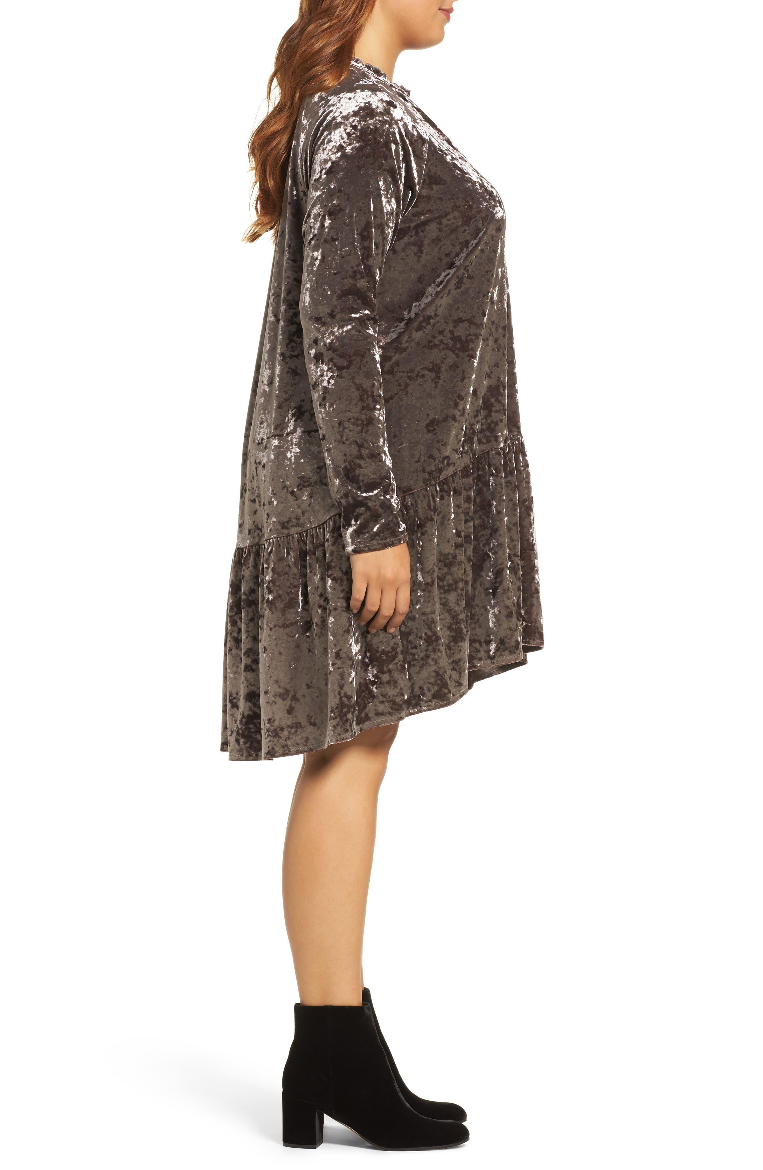 Alternate Image 3  - ELVI Drop Waist Crushed Velvet Dress (Plus Size)