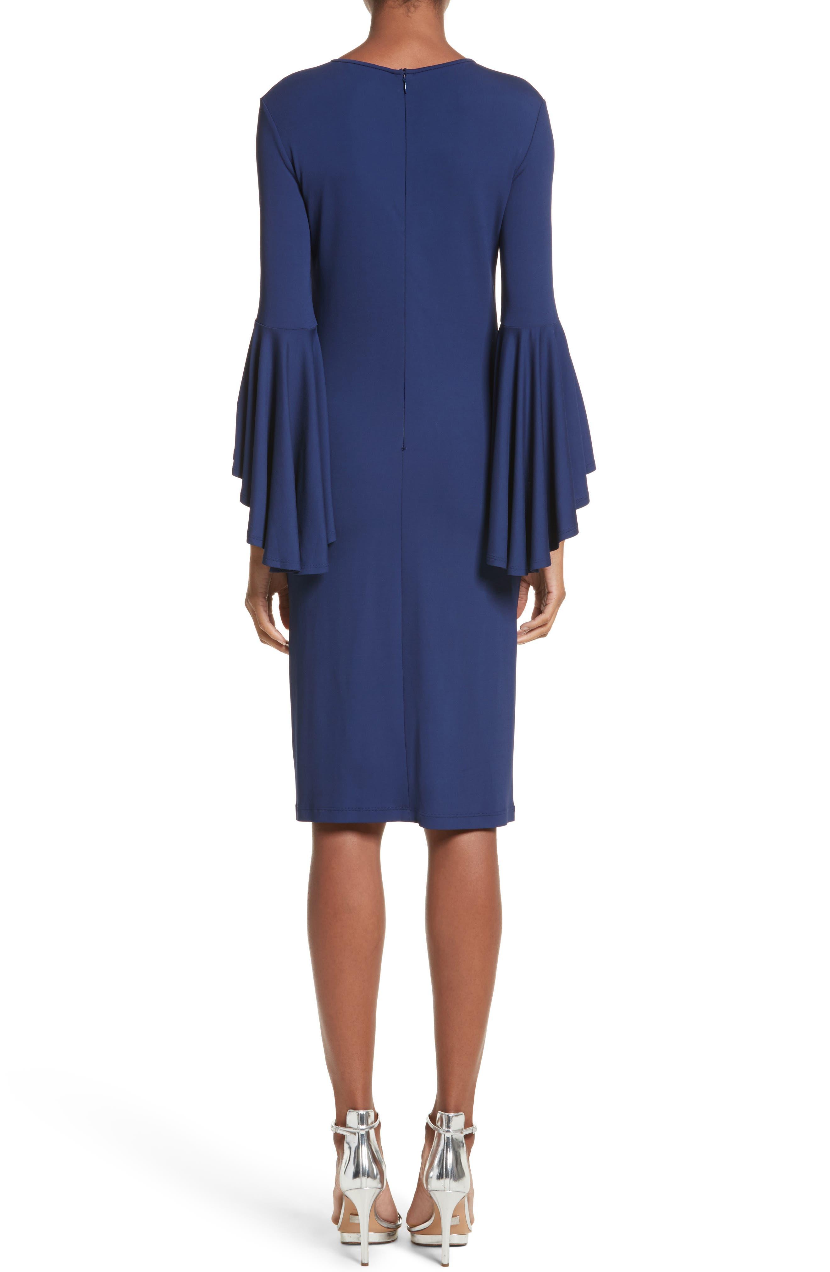Cascade Sleeve Sheath Dress,                             Alternate thumbnail 2, color,                             Sapphire