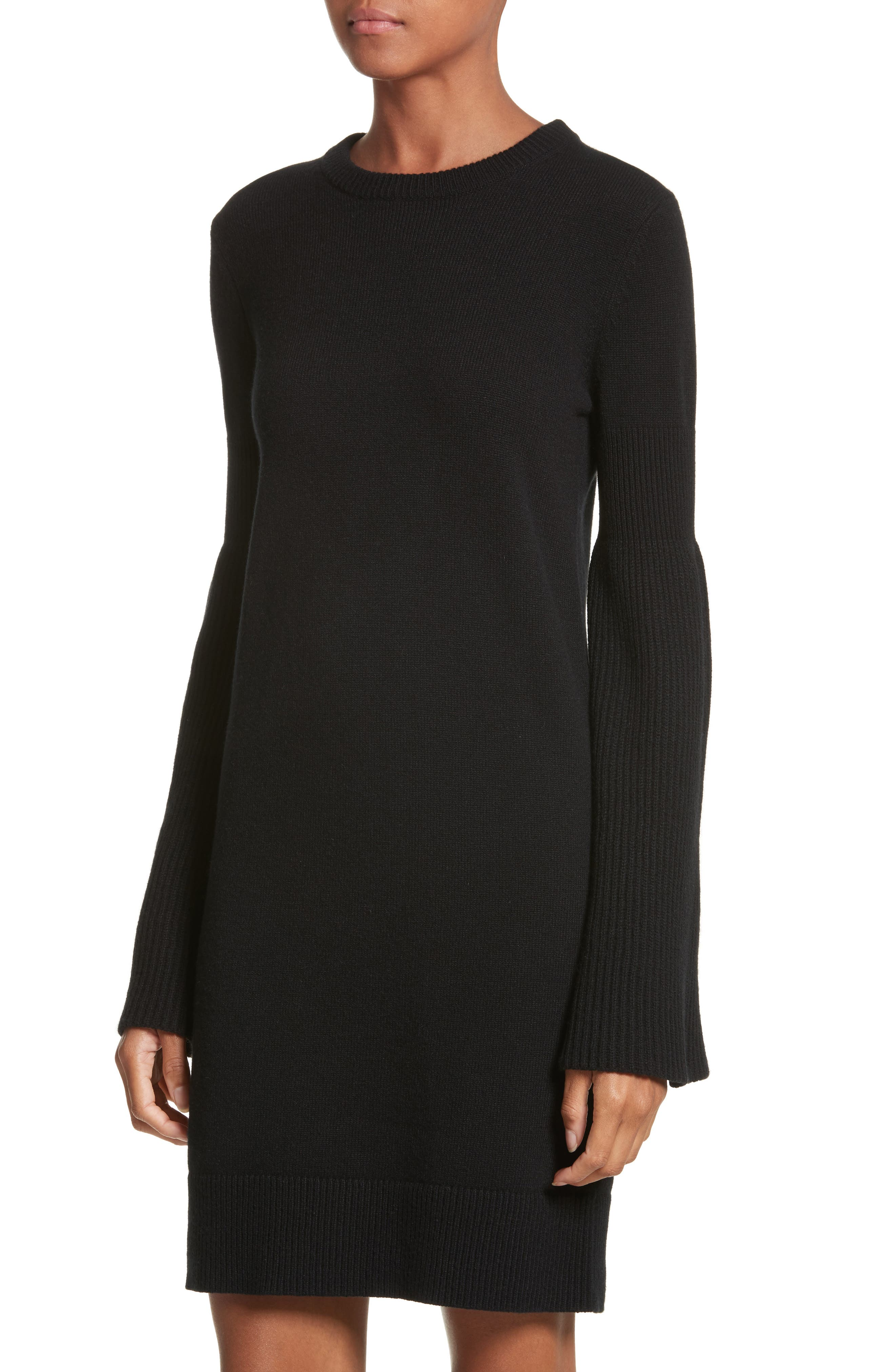 Cashmere Blend Bell Sleeve Dress,                             Alternate thumbnail 4, color,                             Black