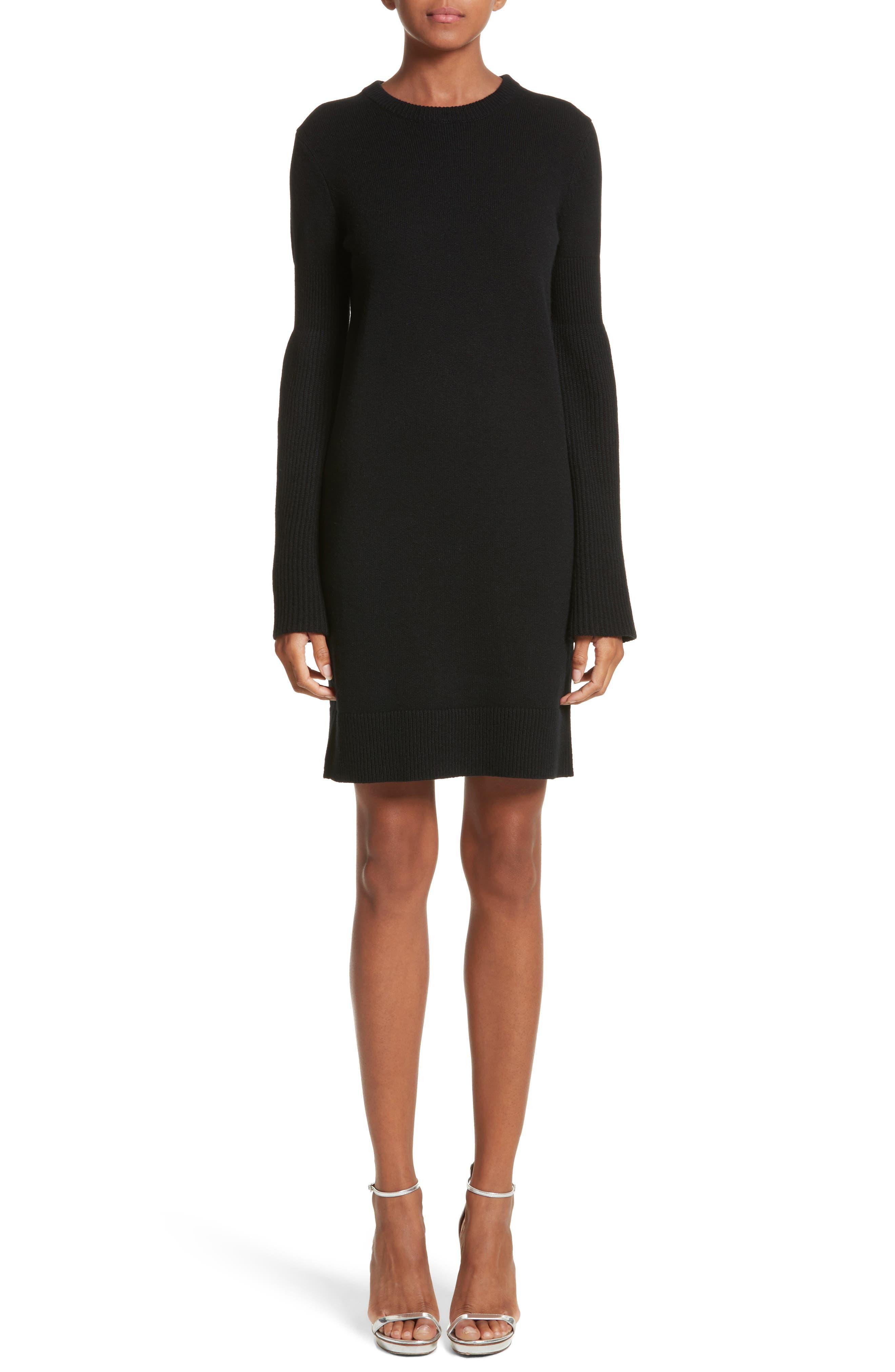 Cashmere Blend Bell Sleeve Dress,                             Main thumbnail 1, color,                             Black