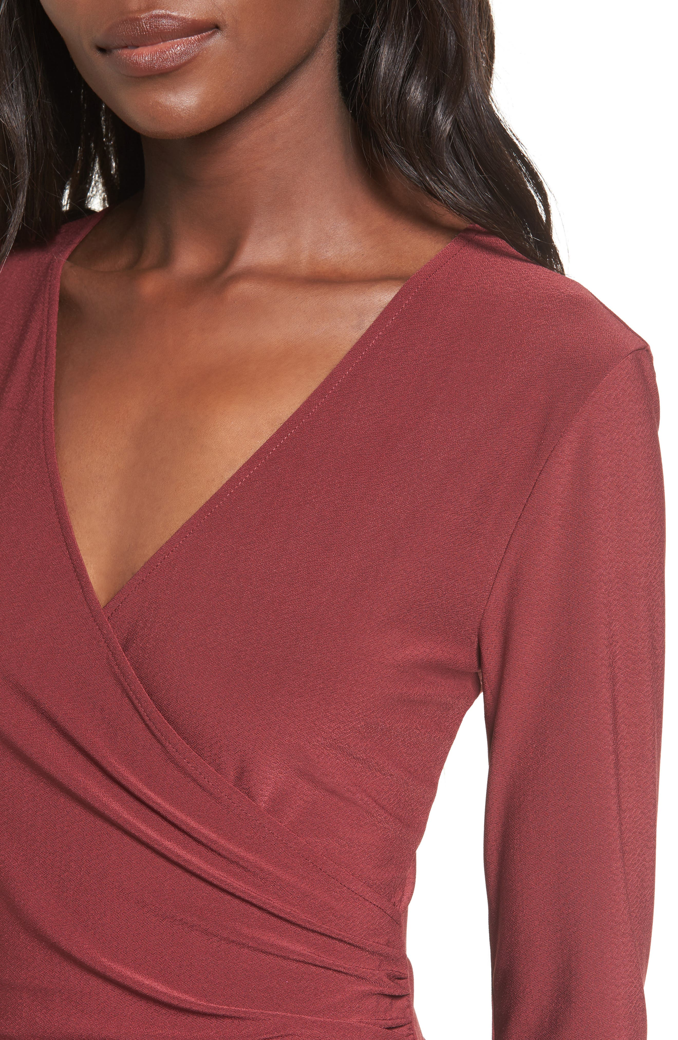 Ruched Sheath Dress,                             Alternate thumbnail 4, color,                             Red Tannin