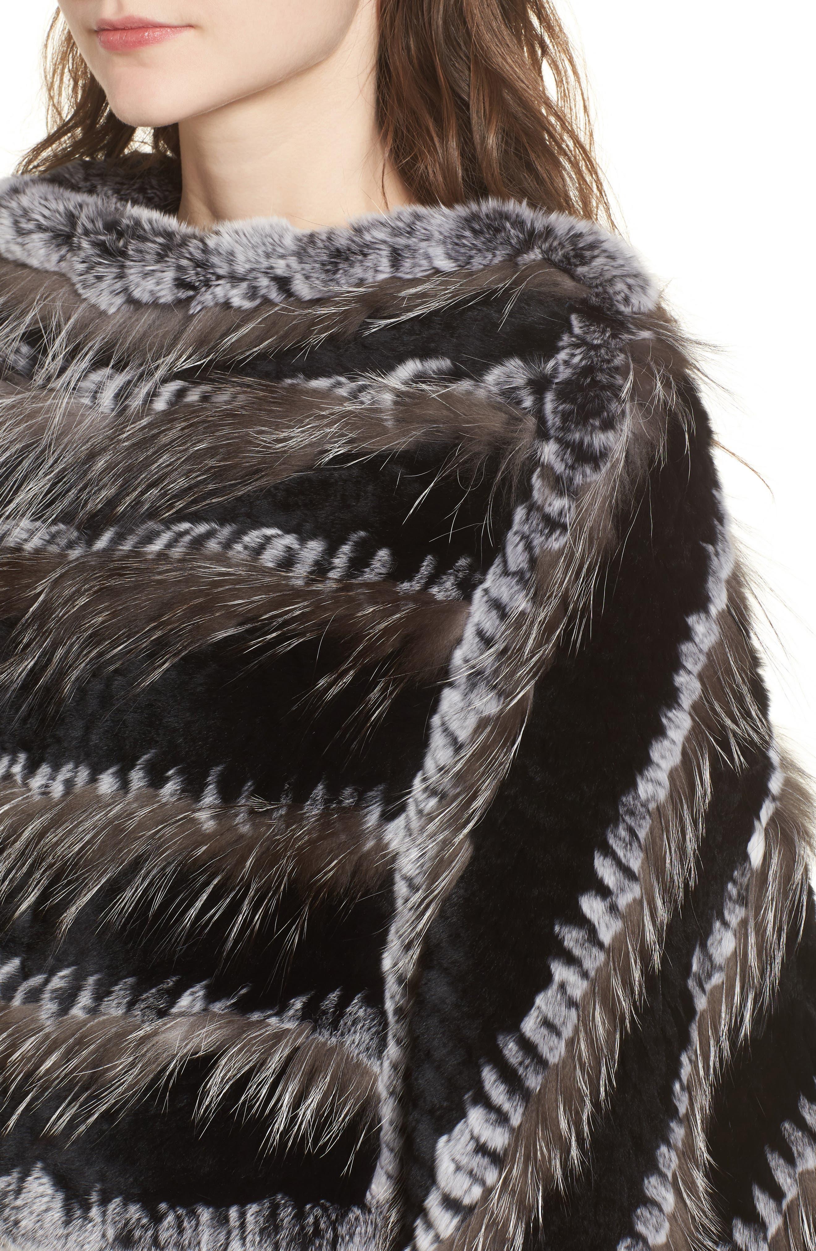 Genuine Fox & Rabbit Fur Poncho,                             Alternate thumbnail 4, color,                             Natural