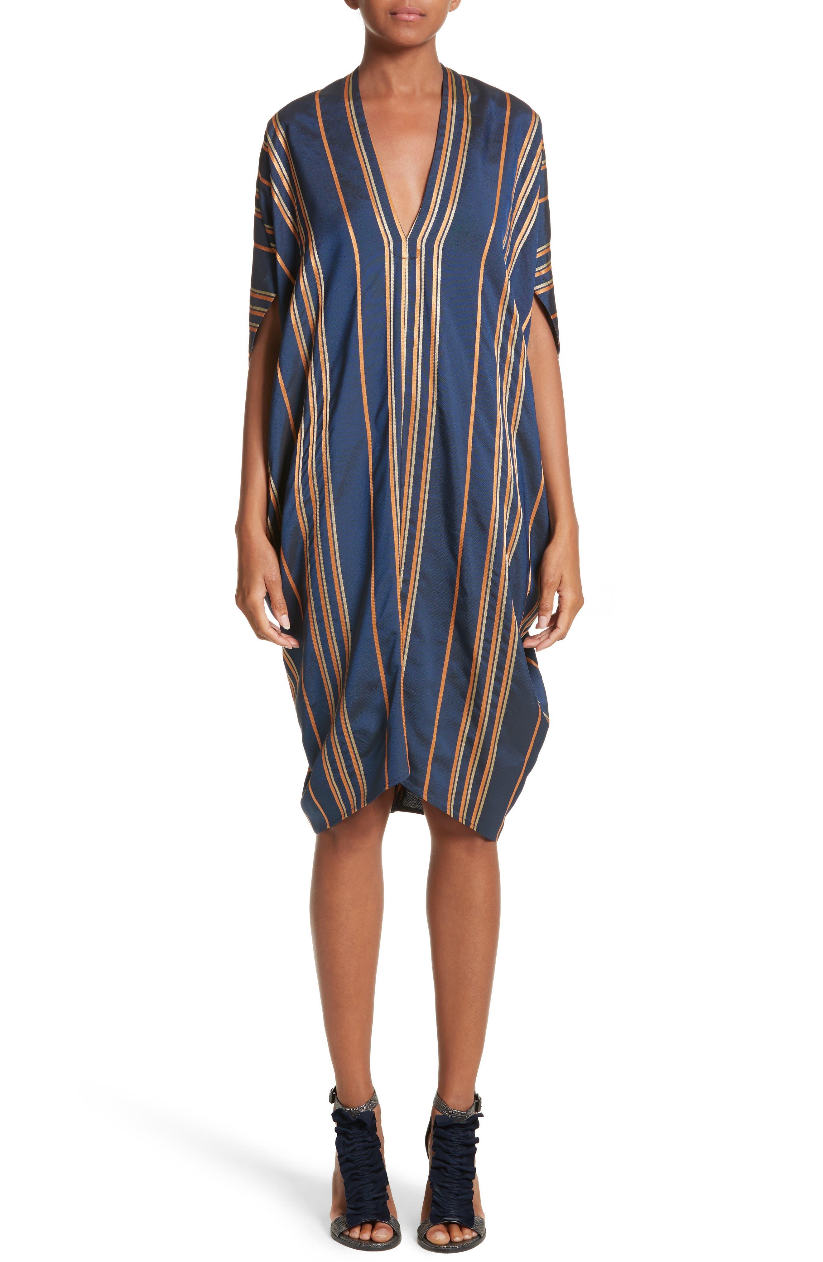 Stripe Dress,                             Main thumbnail 1, color,                             Mykonos/Papaya