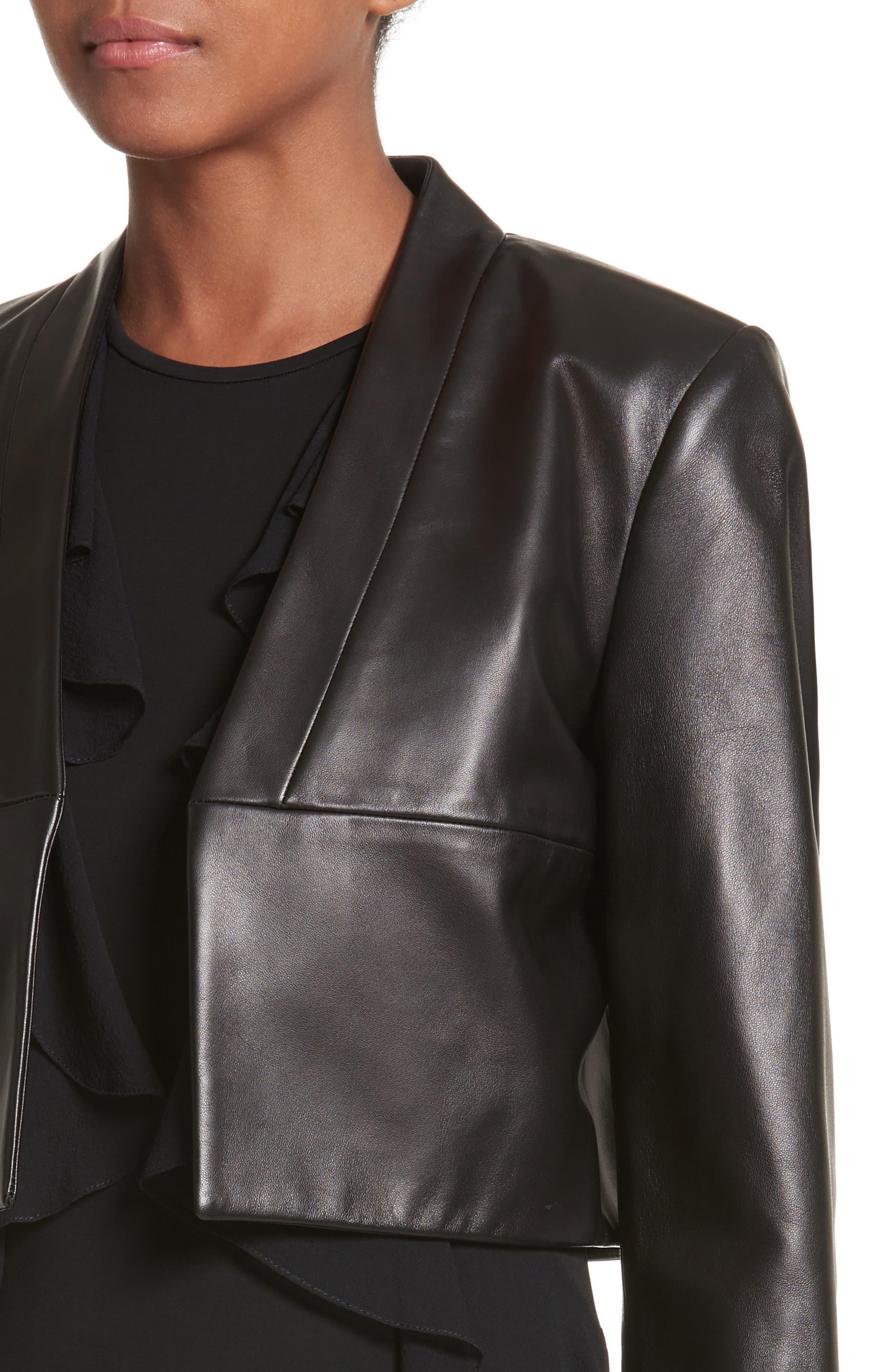 Plongé Leather Bolero Jacket,                             Alternate thumbnail 4, color,                             Black