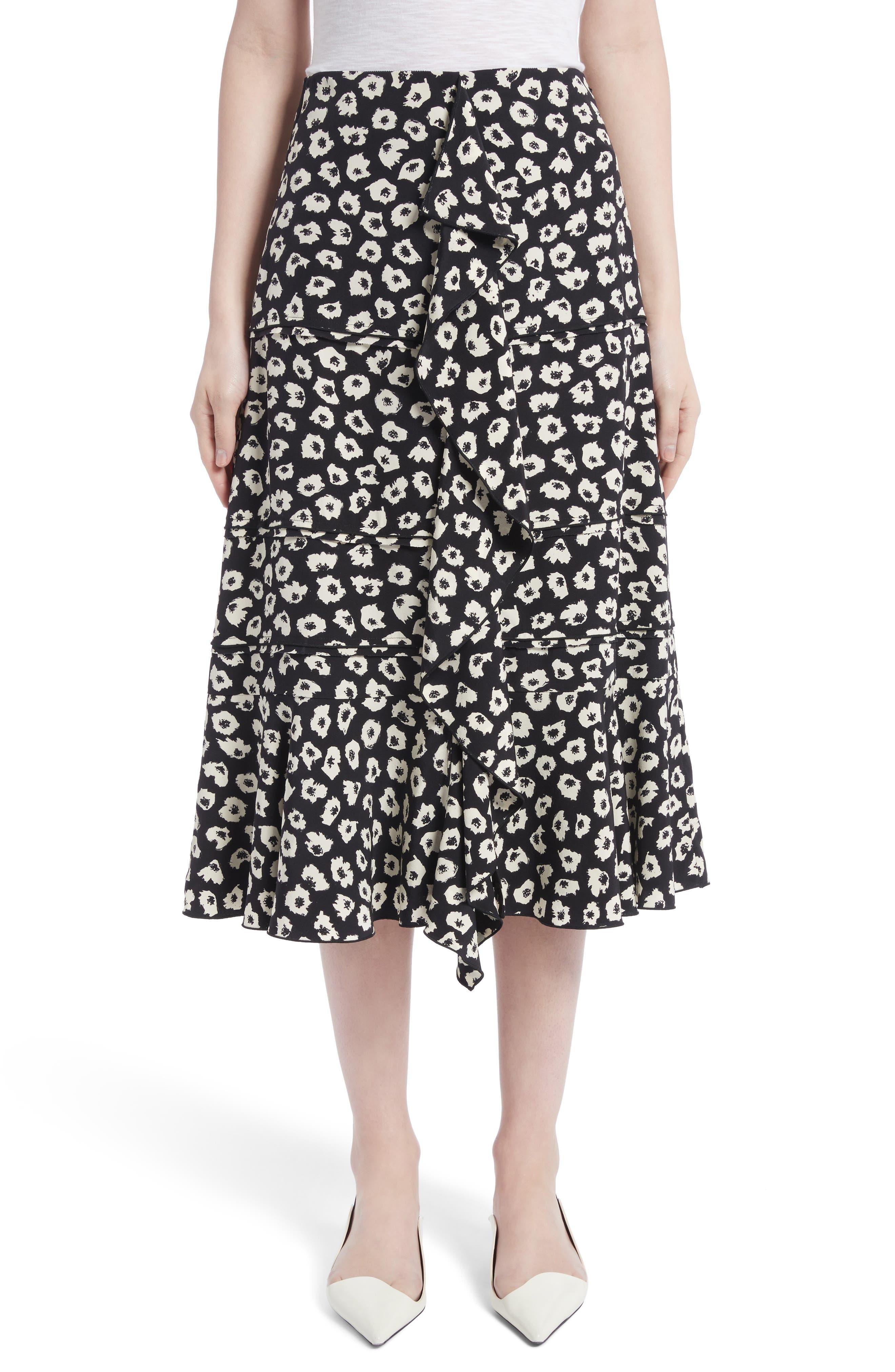 Ruffle Print Silk Midi Skirt,                             Main thumbnail 1, color,                             Black/ Off White Jasmine