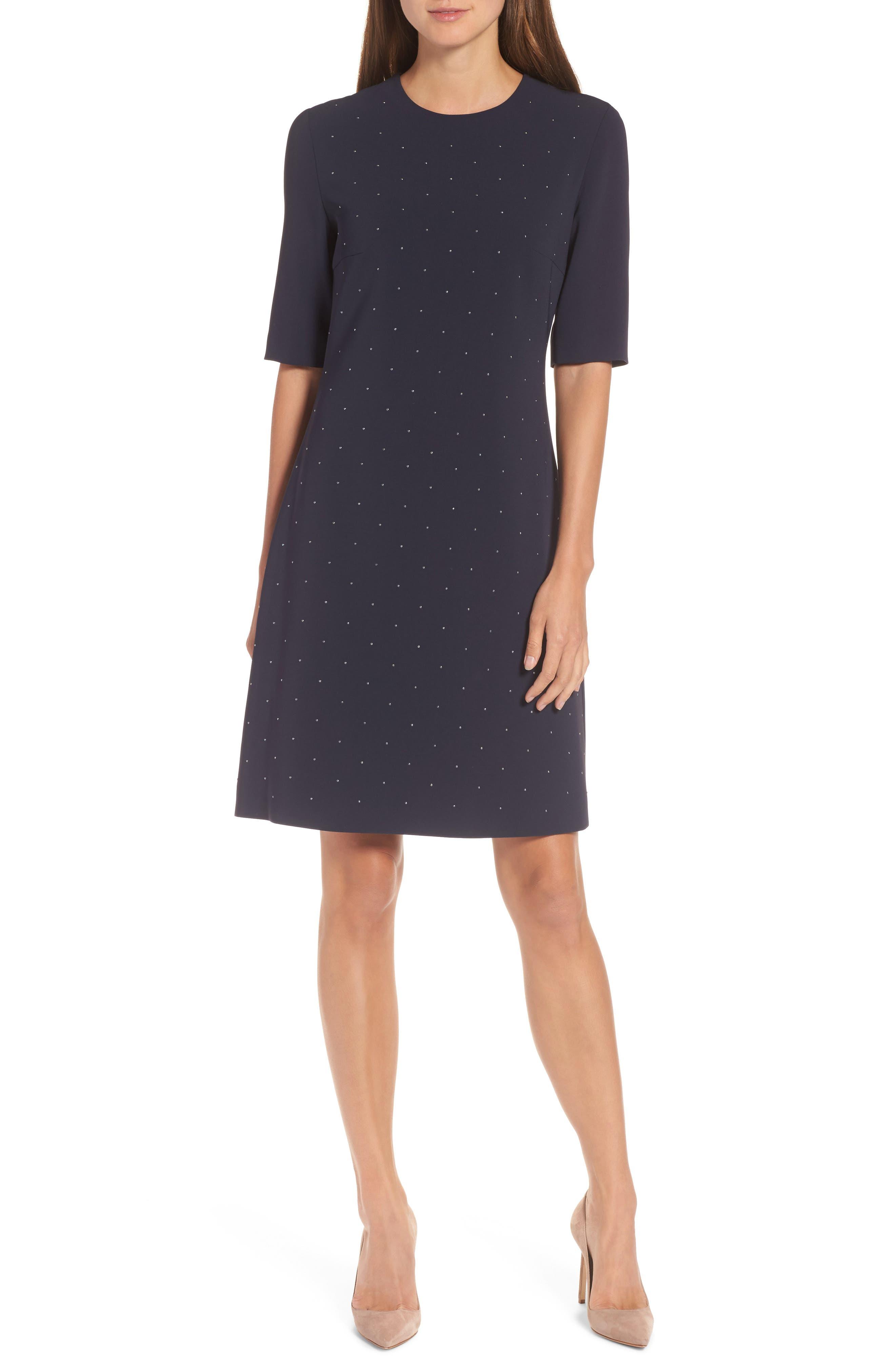 Durasia Embellished A-Line Dress,                         Main,                         color, Navy