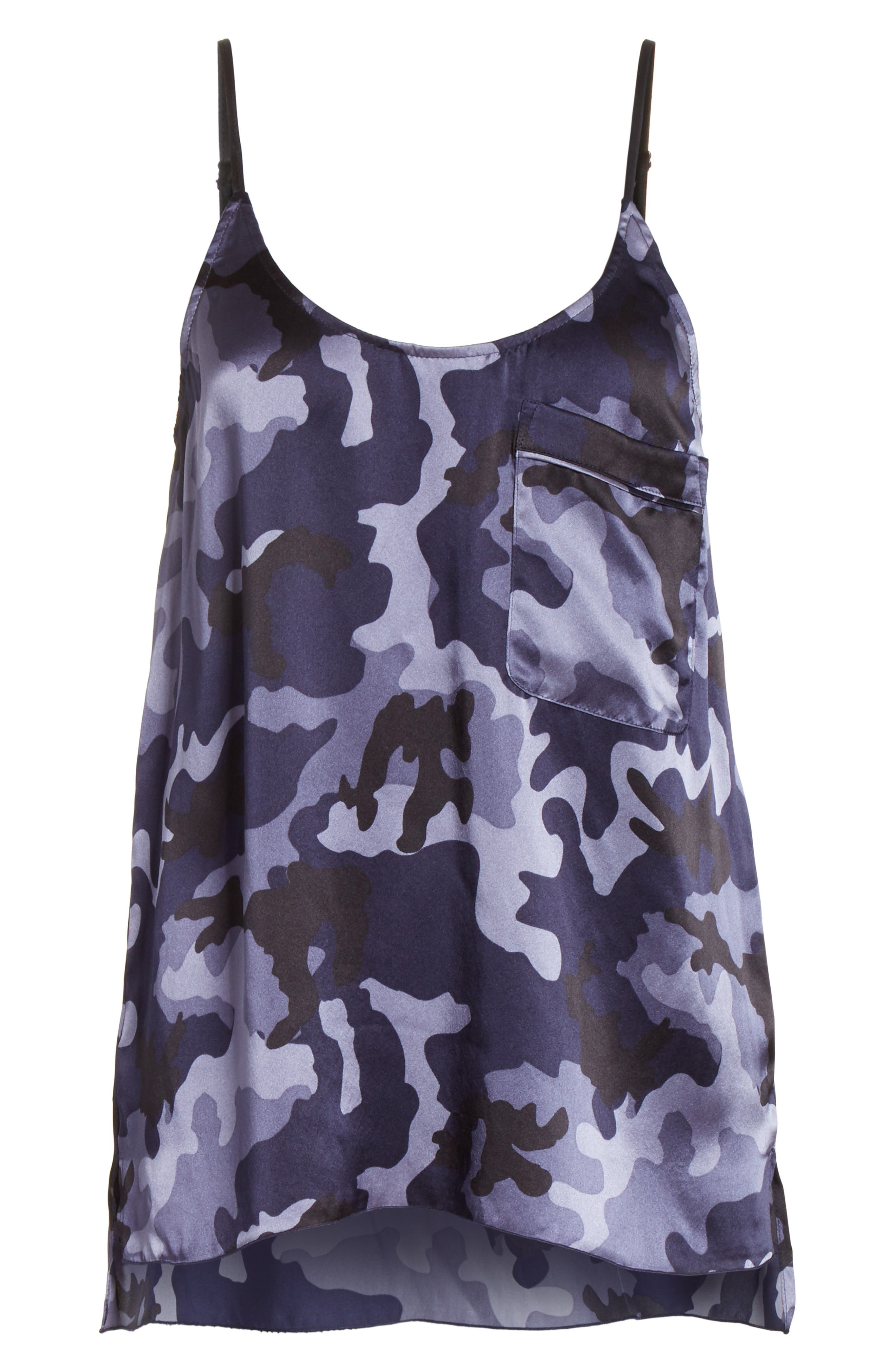 Camo Garment Washed Silk Tank,                             Alternate thumbnail 6, color,                             Blue Camo