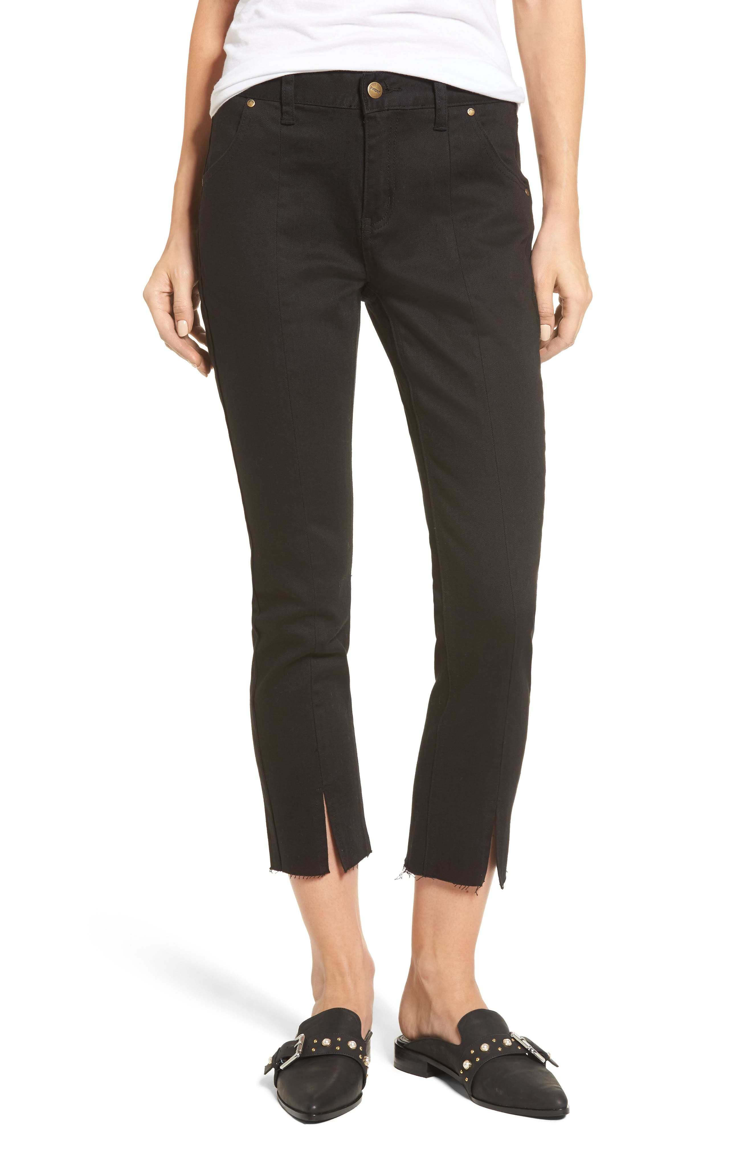 Hermosa Vented Crop Skinny Jeans,                             Main thumbnail 1, color,                             Black