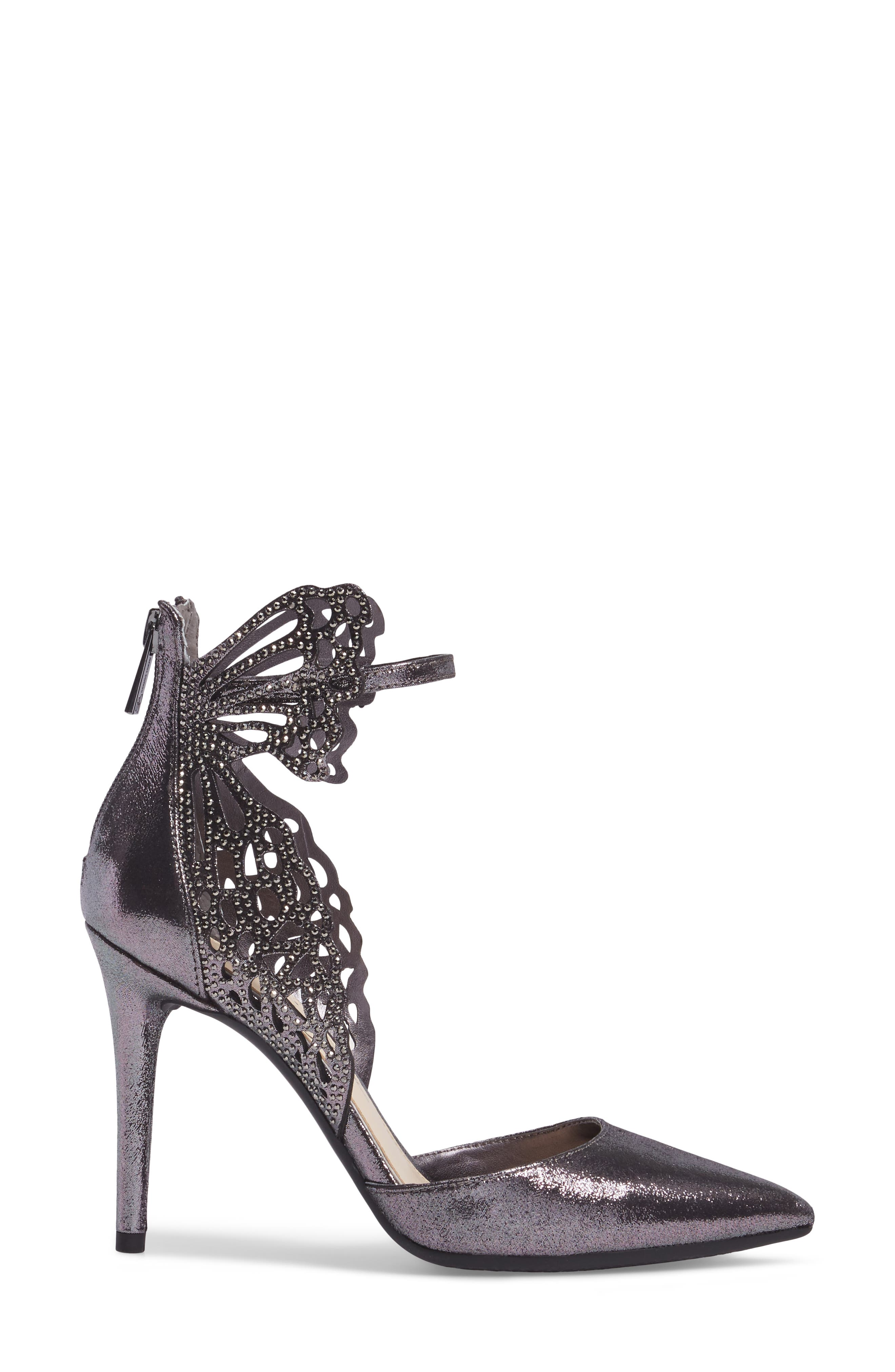 Leasia Butterfly Pump,                             Alternate thumbnail 3, color,                             Pewter Satin