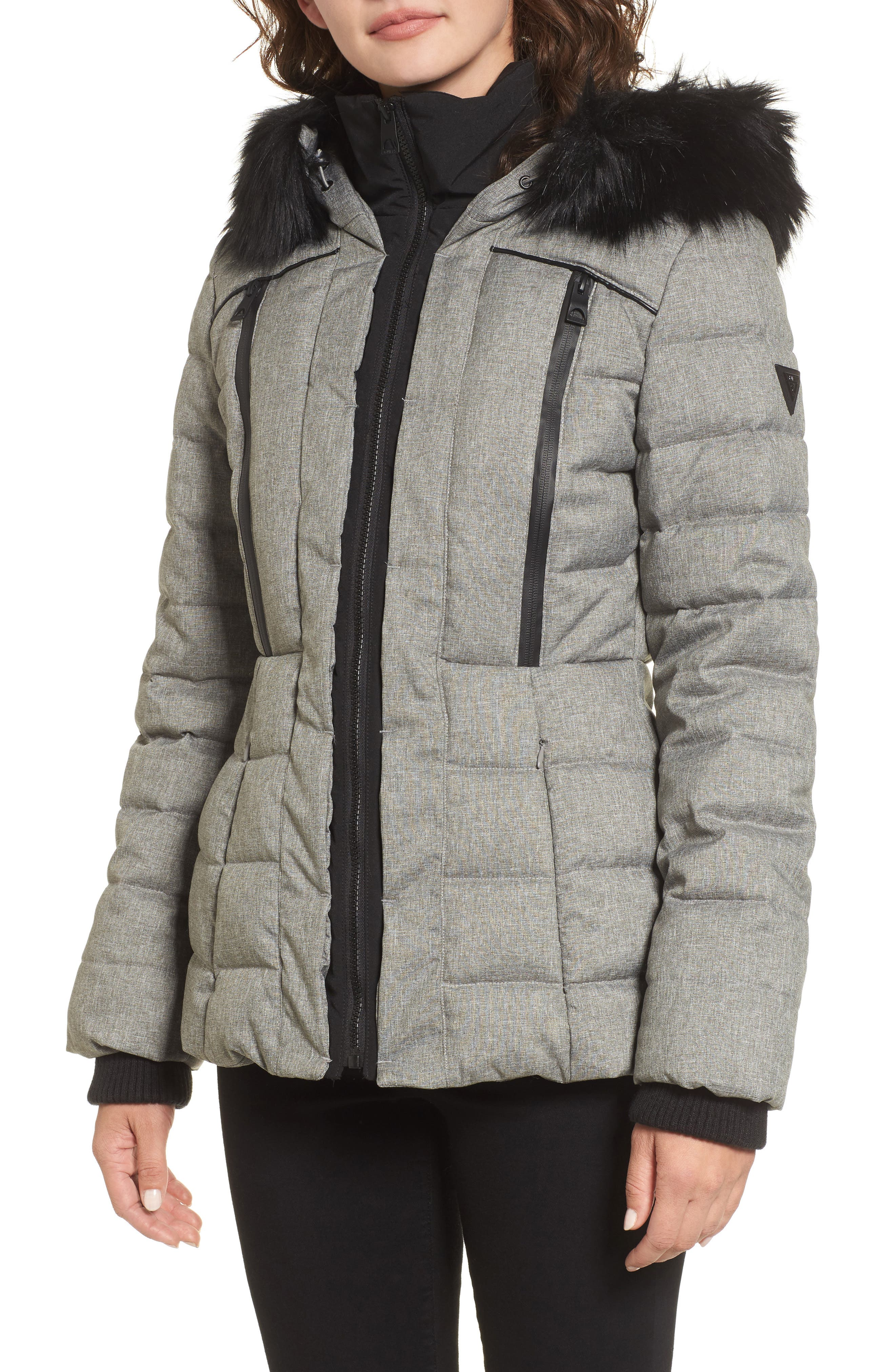 GUESS Quilted Hooded Puffer Coat with Faux Fur Trim