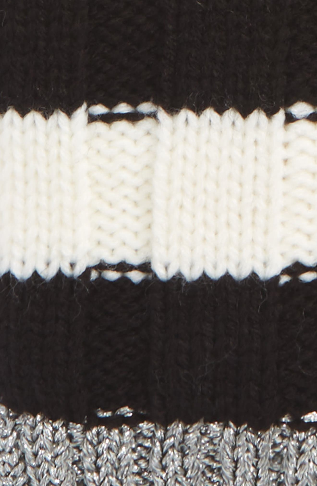 stripe convertible knit mittens,                             Alternate thumbnail 2, color,                             Cream/Black/Antique Silver