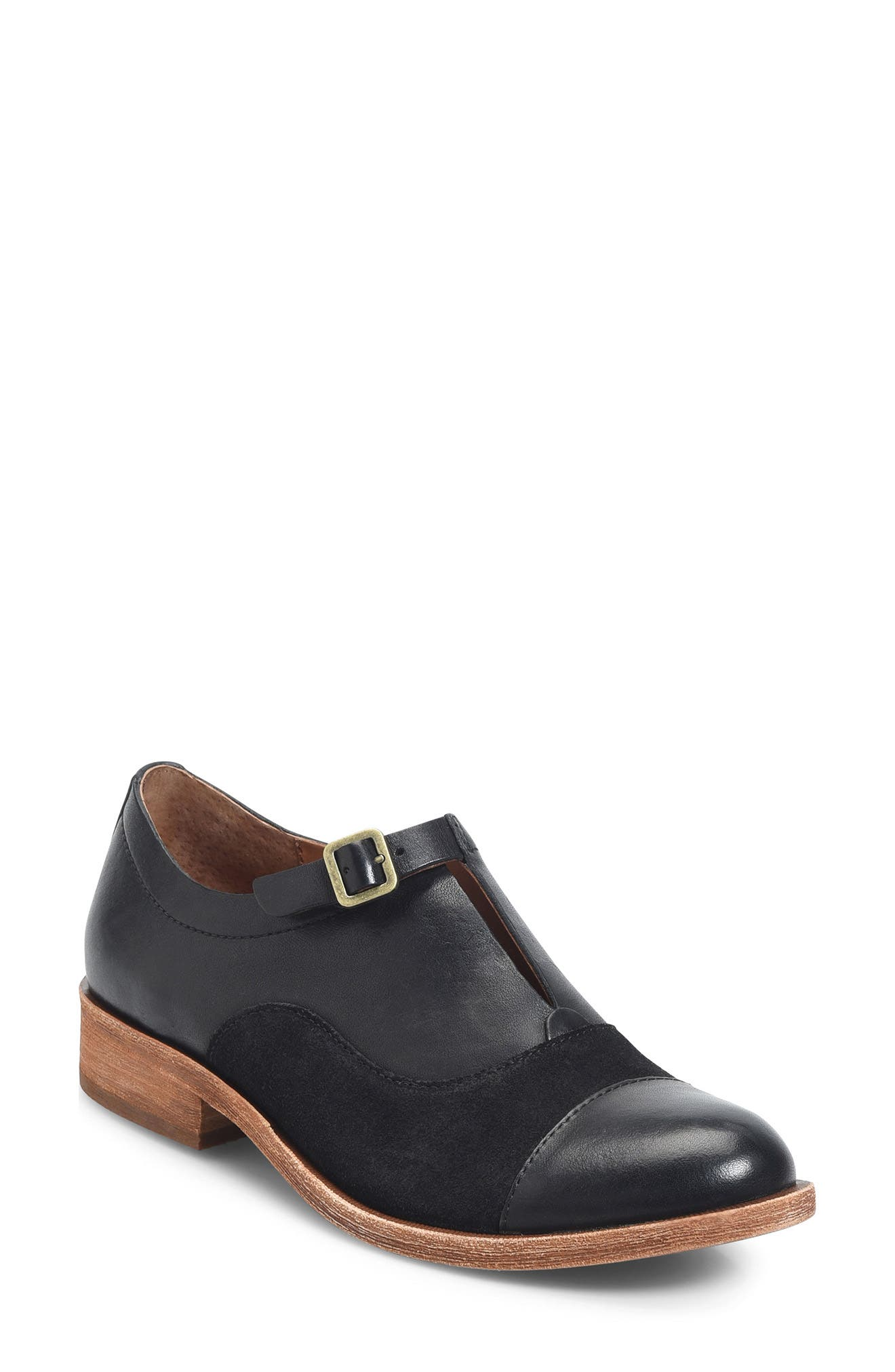 'Niseda' Oxford,                             Main thumbnail 1, color,                             Black Leather Suede Combo