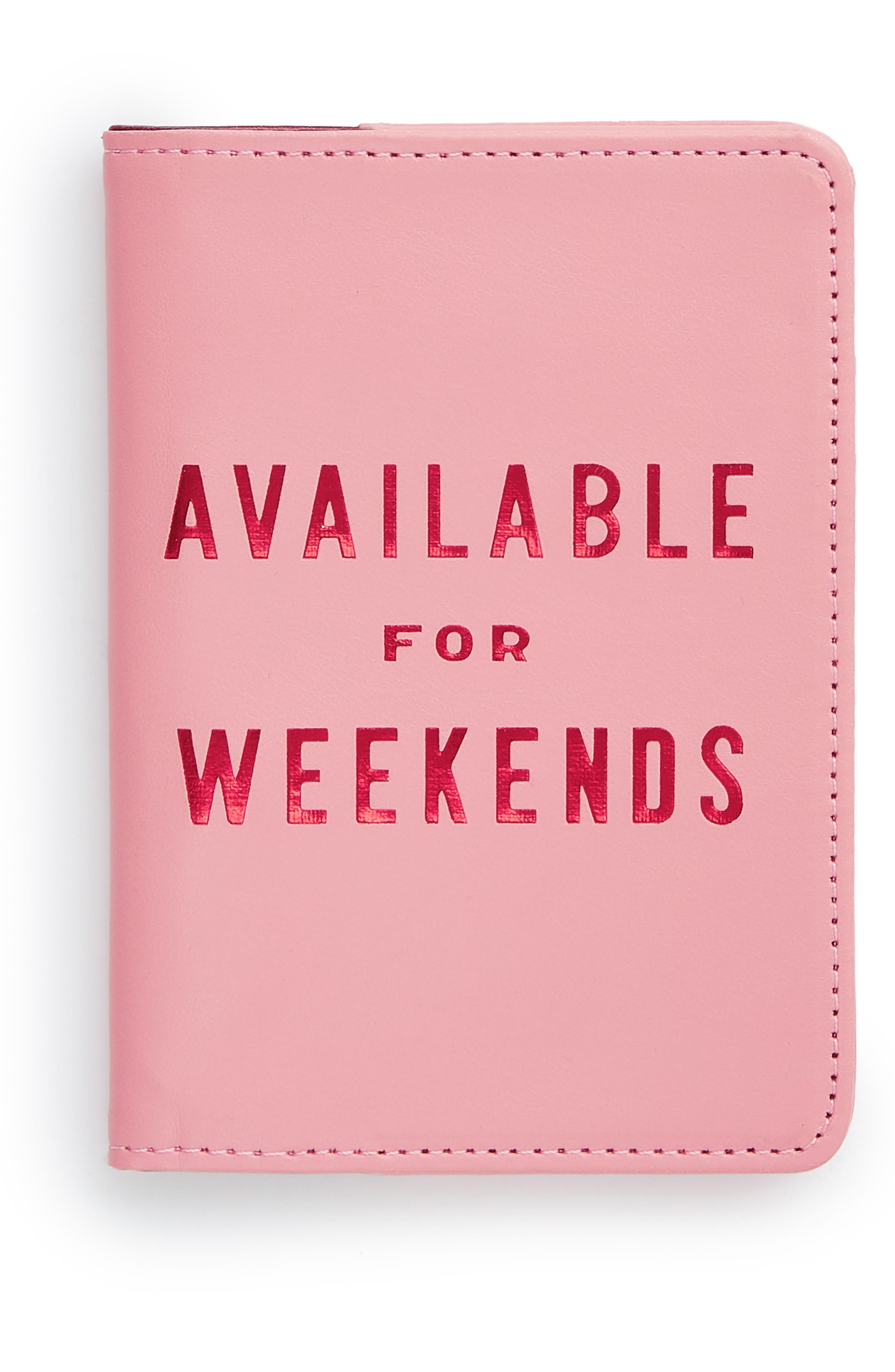 Available For Weekends Passport Holder,                             Main thumbnail 1, color,                             Pink
