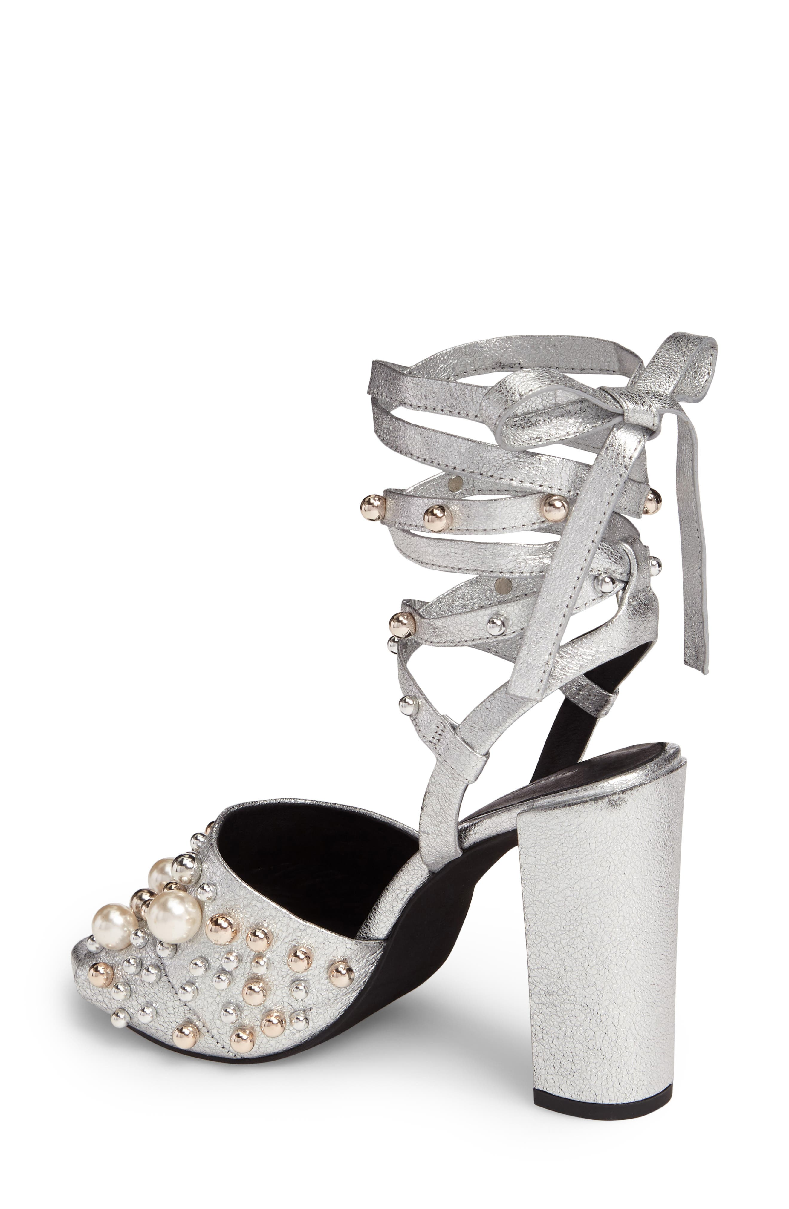 Dierdre Embellished Sandal,                             Alternate thumbnail 2, color,                             Nickel Leather