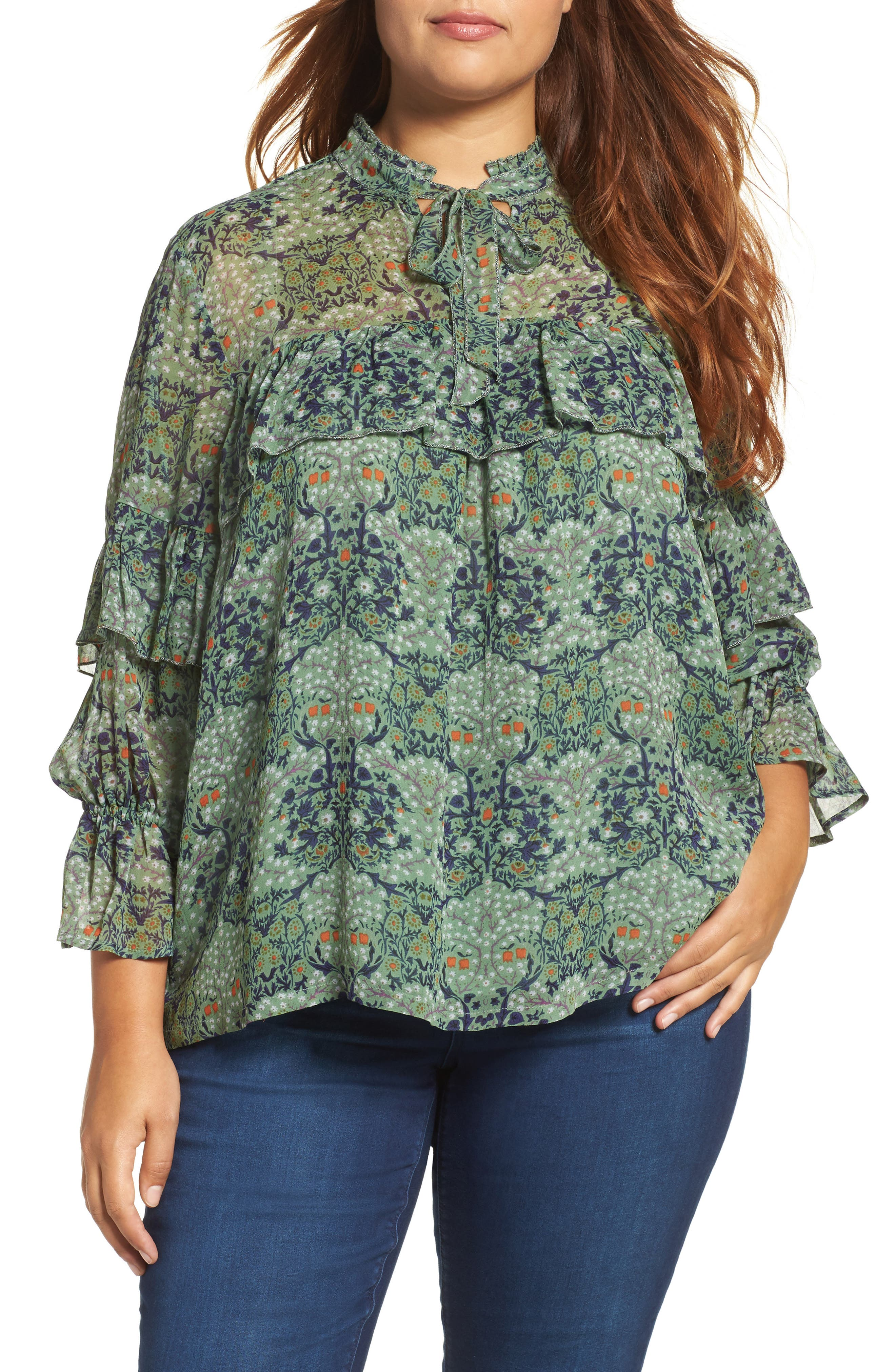 Ruffled Floral Blouse,                             Main thumbnail 1, color,                             Green Multi