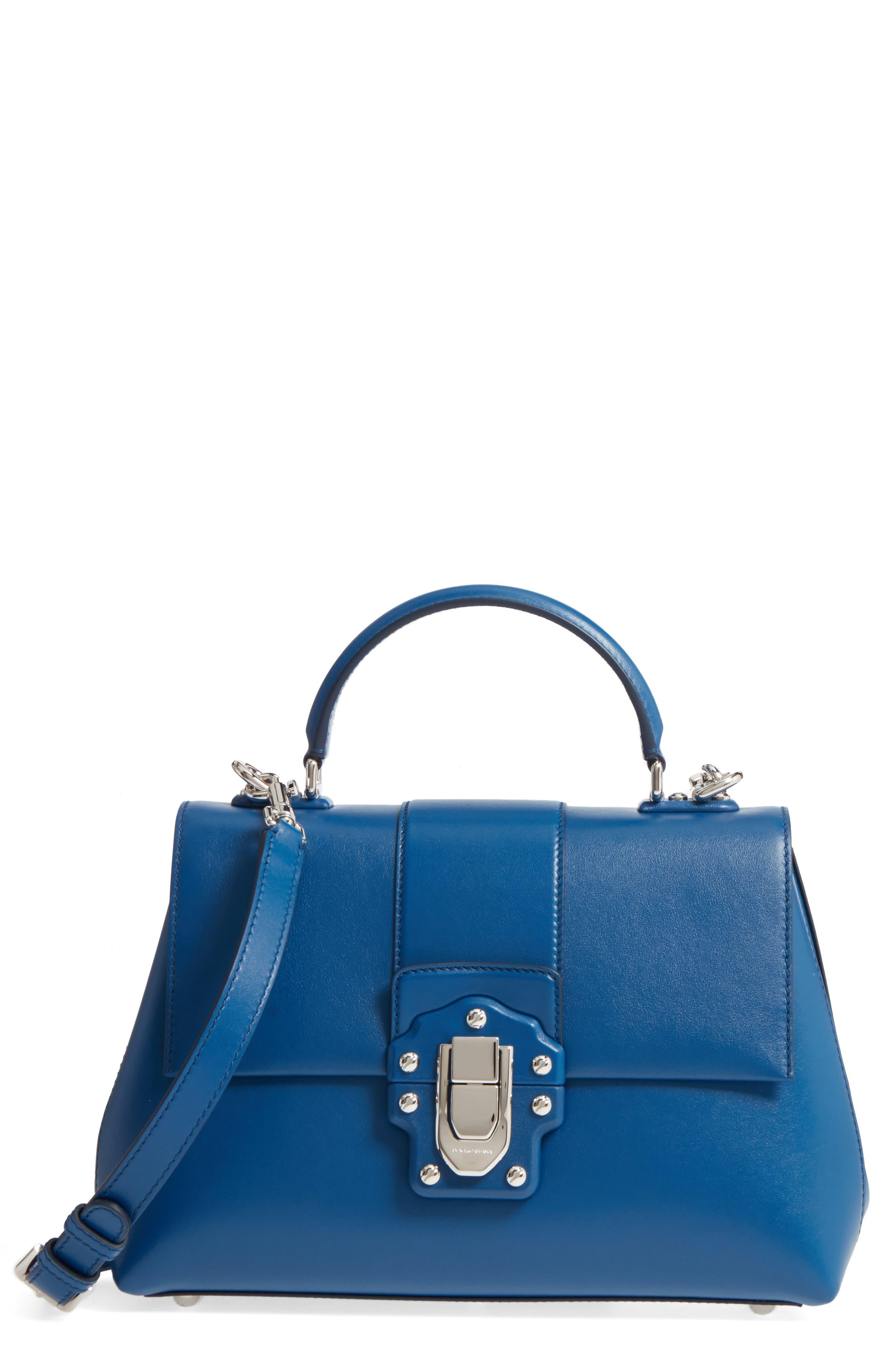 Medium Lucia Leather Satchel,                         Main,                         color, Blue