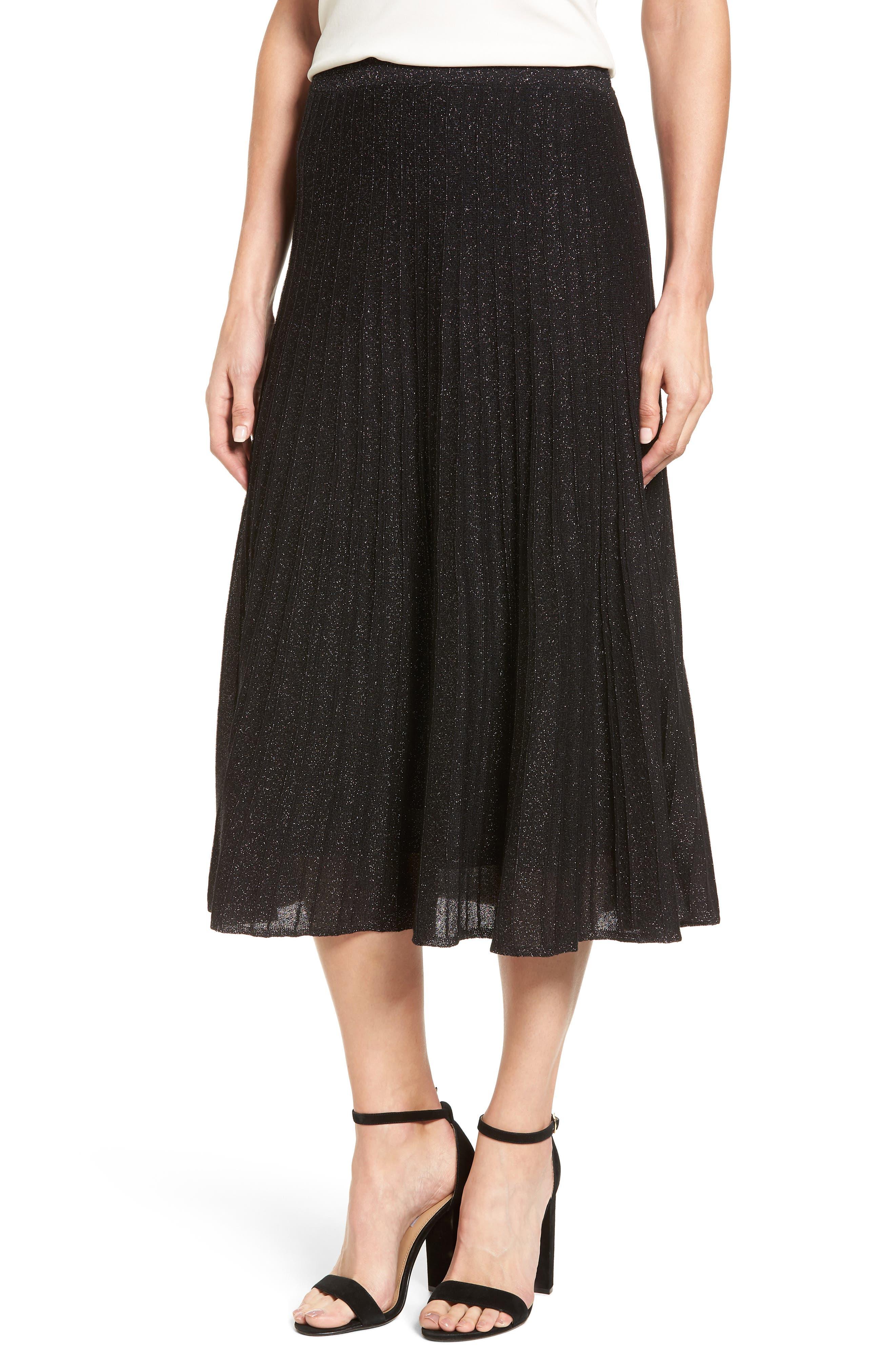 Luminary Pleated Midi Skirt,                             Main thumbnail 1, color,                             Black Mix