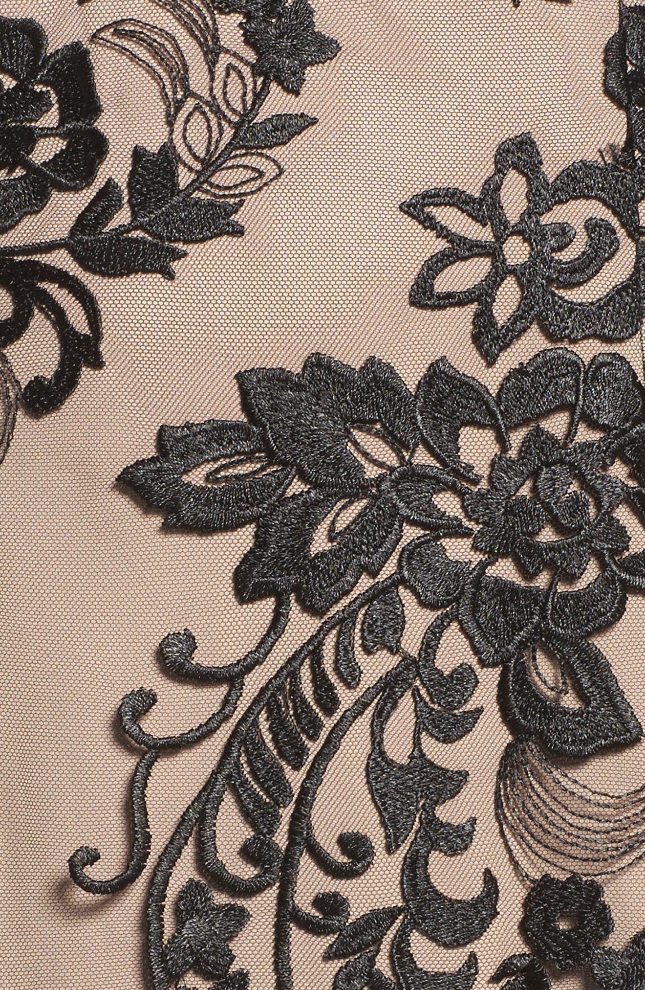 Eillen Embroidered Lace Dress,                             Alternate thumbnail 5, color,                             Black/ Bisque