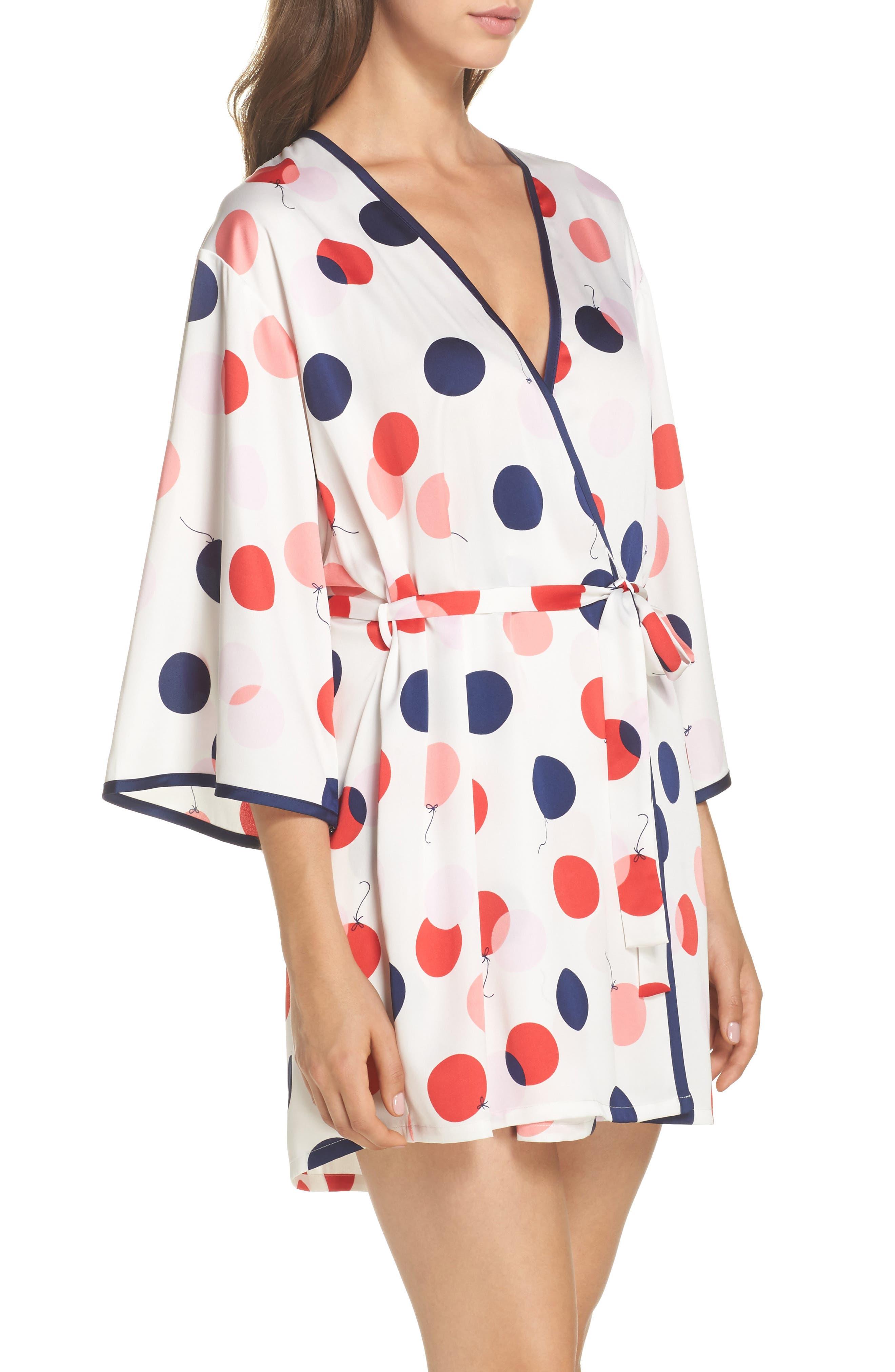 charmeuse short robe,                             Alternate thumbnail 3, color,                             White/ Red