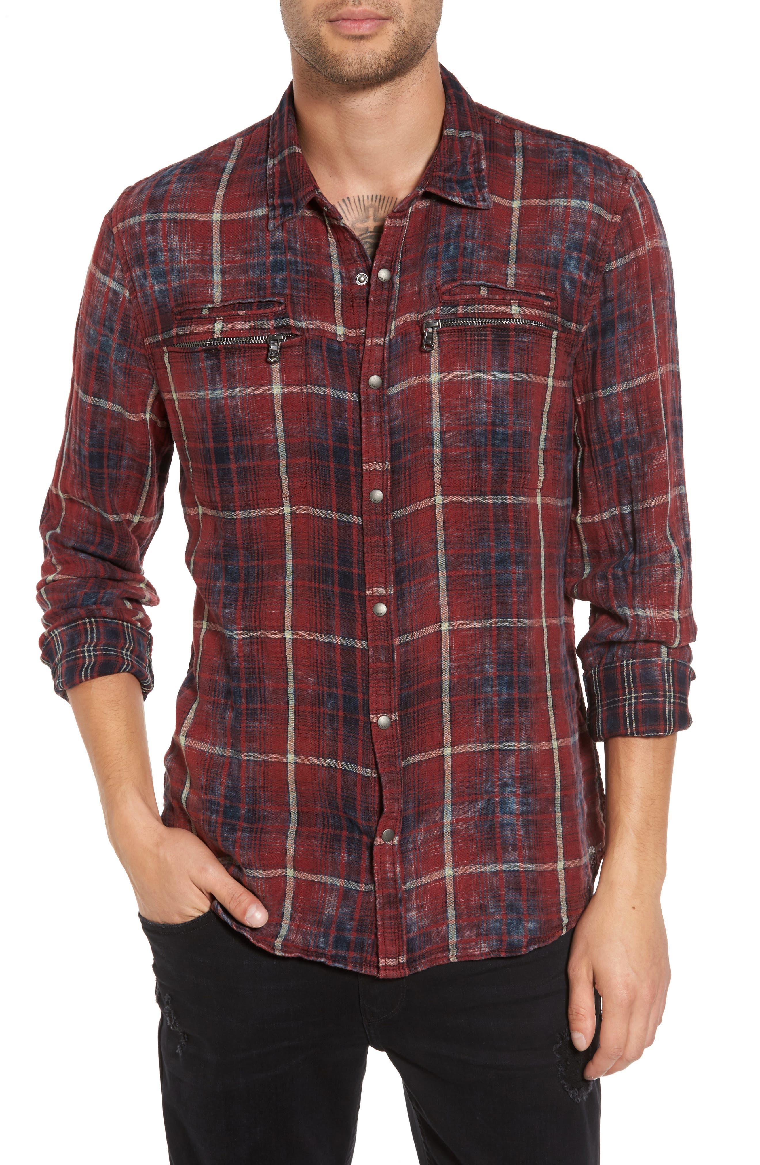 Distressed Plaid Sport Shirt,                         Main,                         color, Scarlet