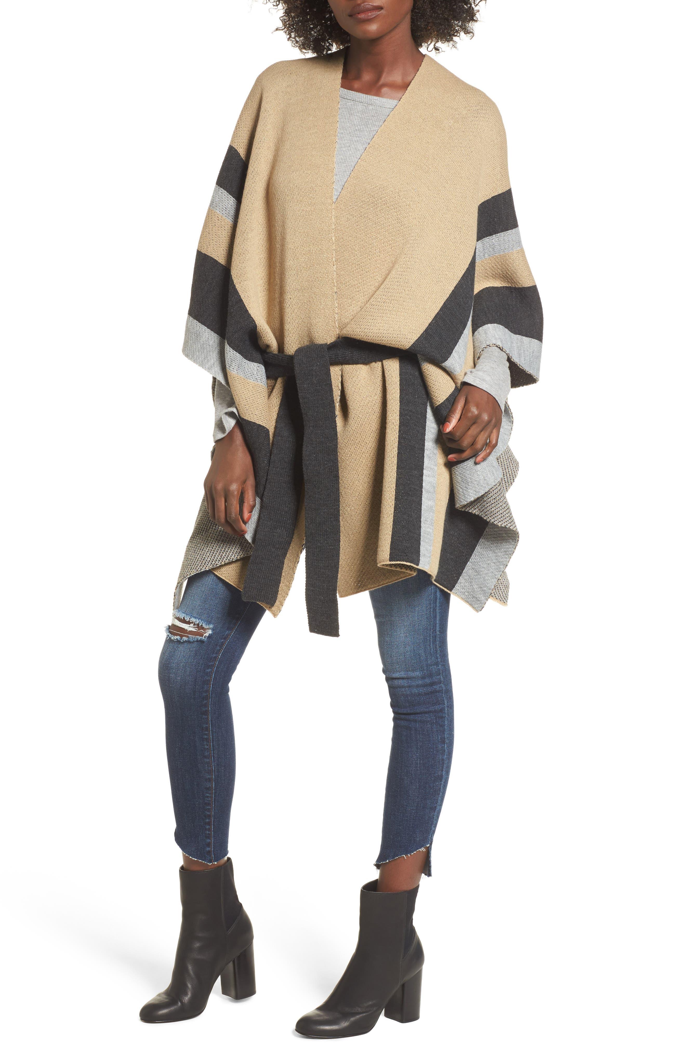 Stripe Ruana,                             Main thumbnail 1, color,                             Camel Multi