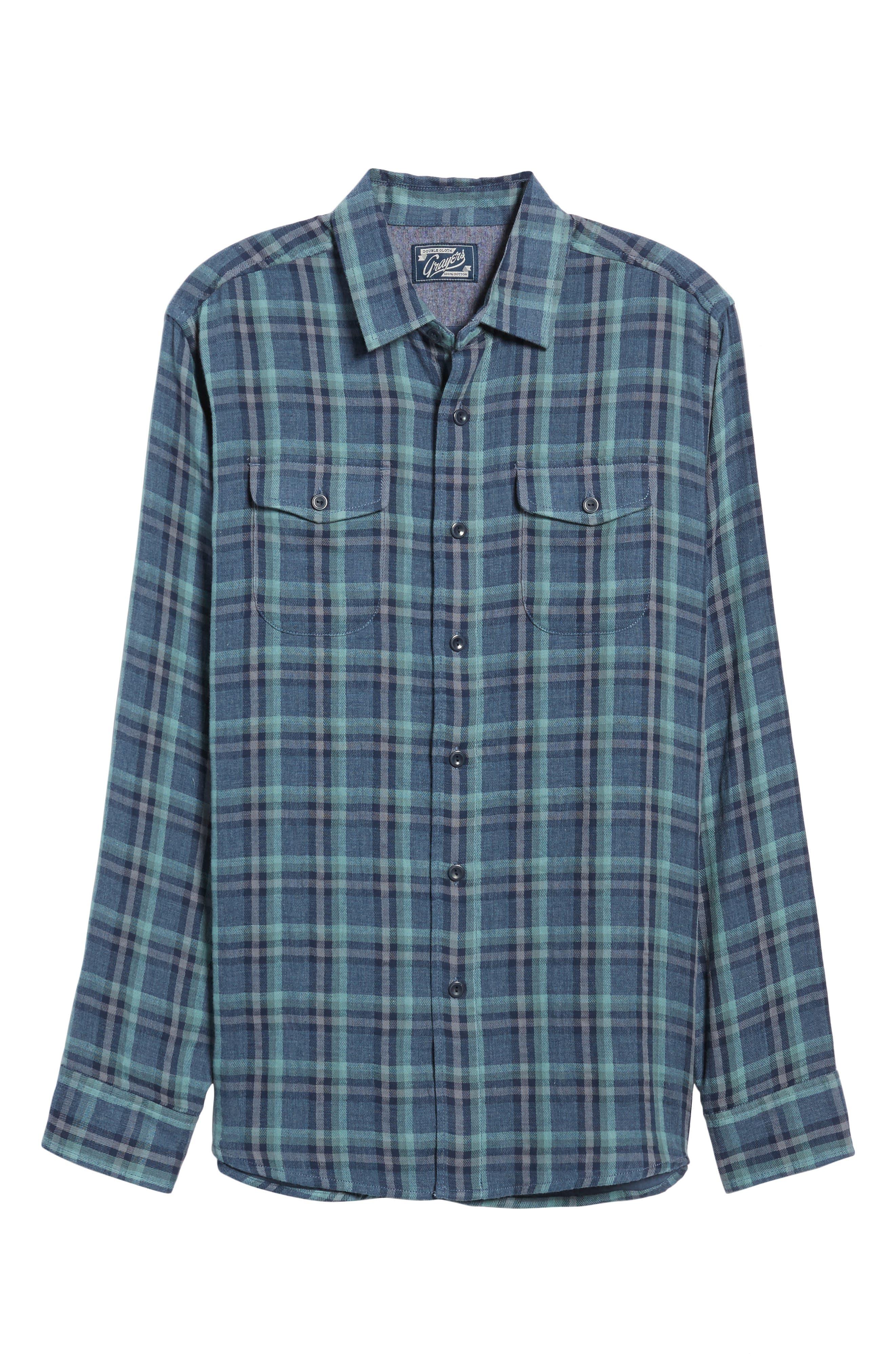 Smith Double Cloth Plaid Sport Shirt,                             Alternate thumbnail 6, color,                             Blue Navy Seafoam
