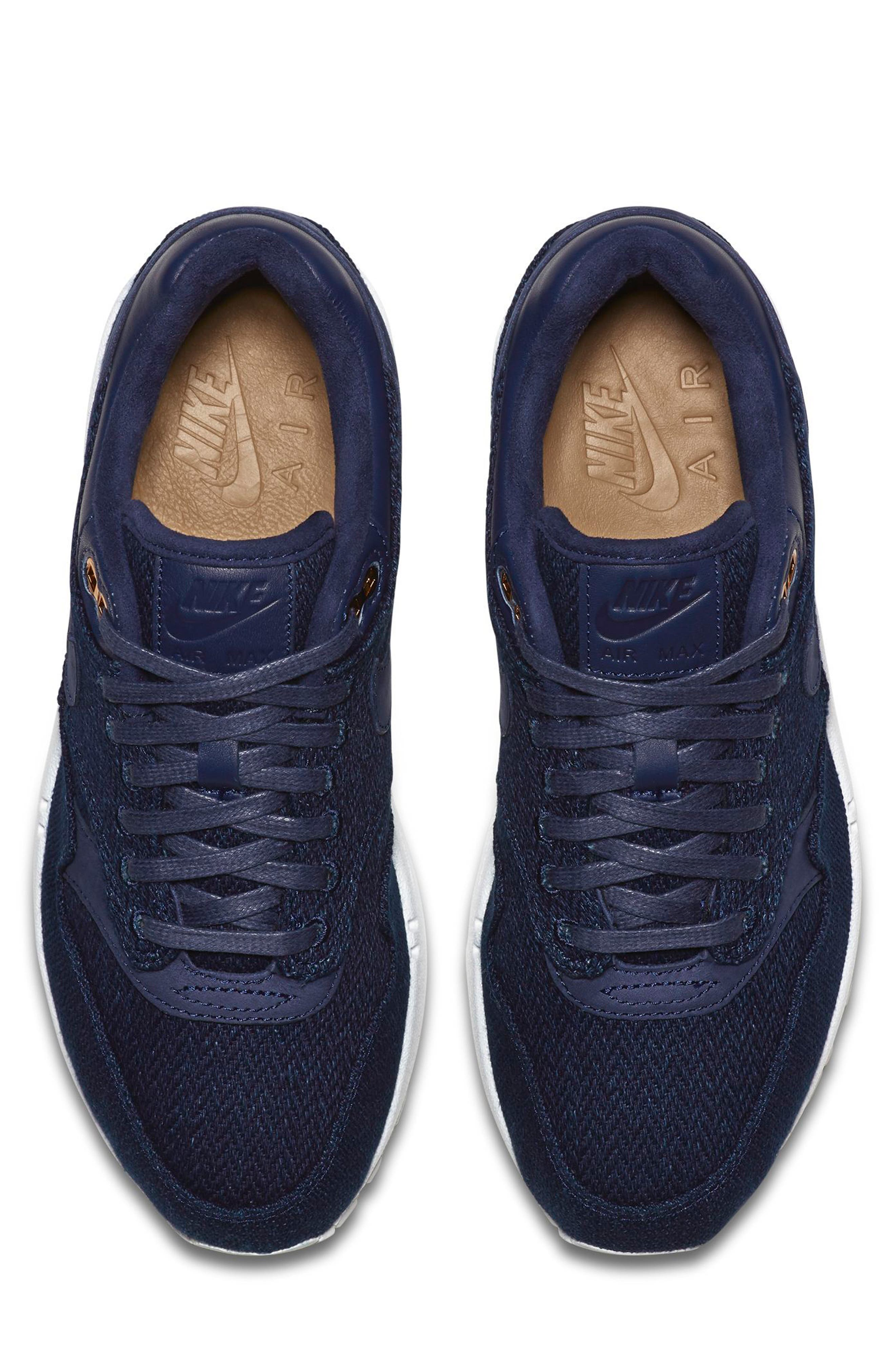 Air Max 1 Lux Sneaker,                             Alternate thumbnail 4, color,                             Binary Blue/ White/ Stout