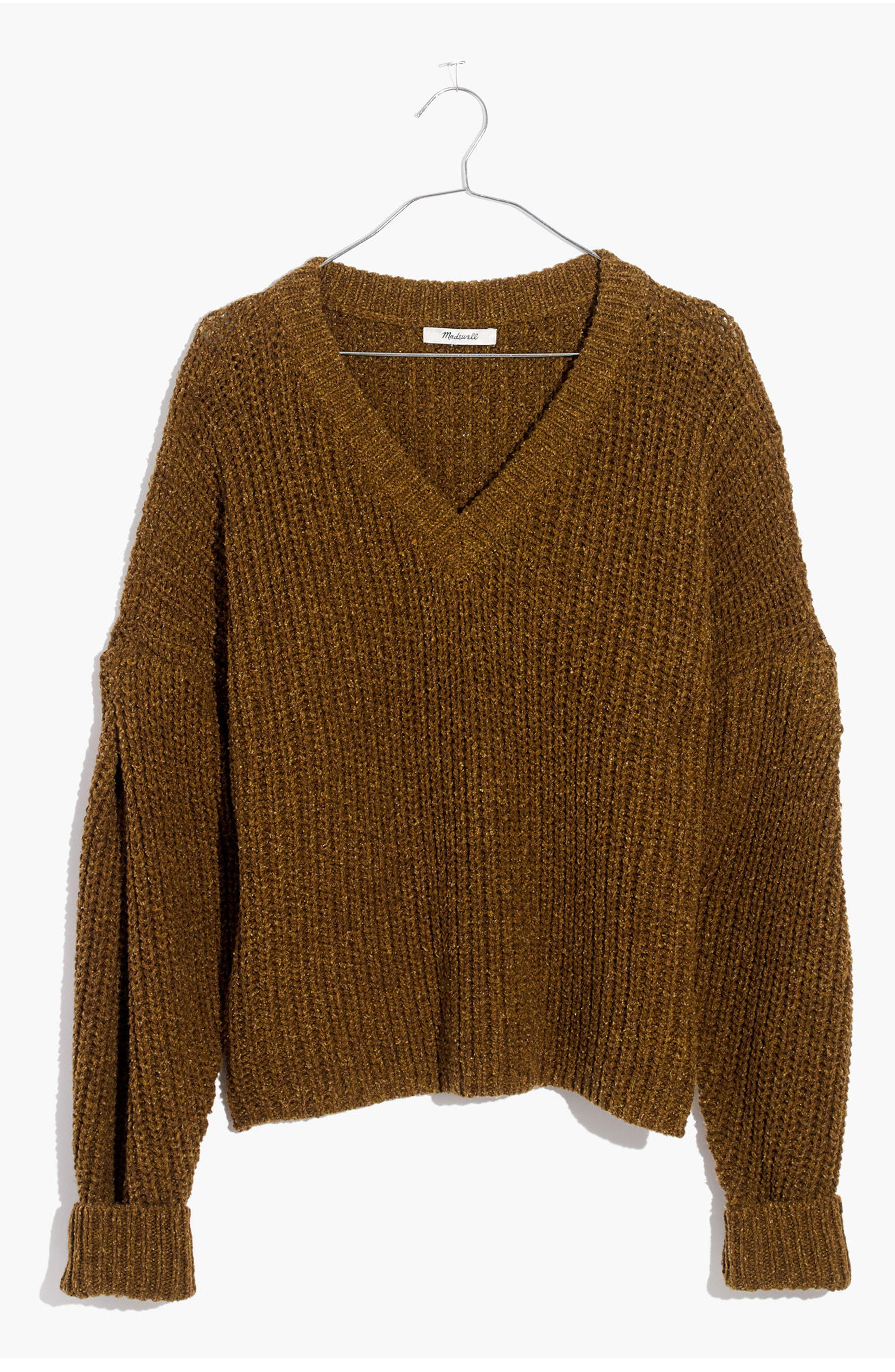 Pleat Sleeve Pullover Sweater,                             Alternate thumbnail 3, color,                             Ripened Olive