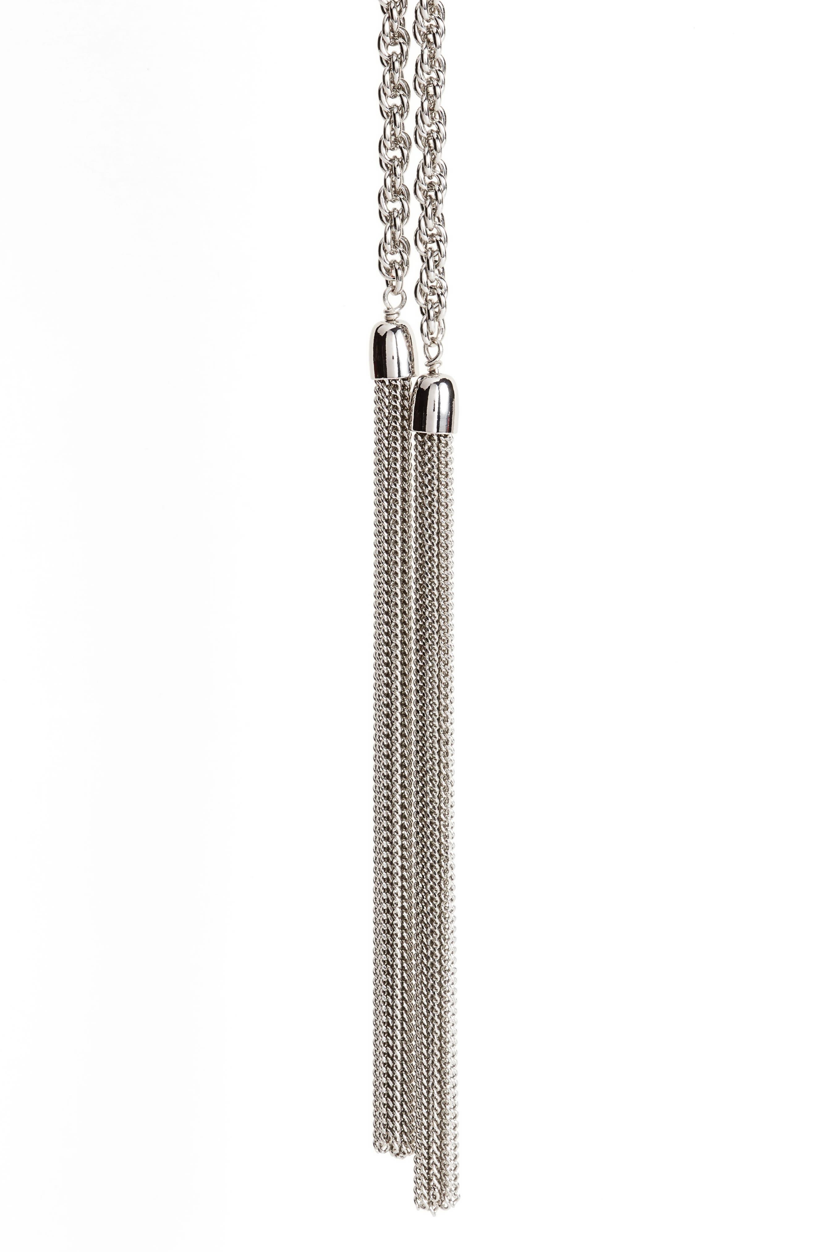 Fine Chain Tassel Lariat Necklace,                             Alternate thumbnail 3, color,                             Rhodium