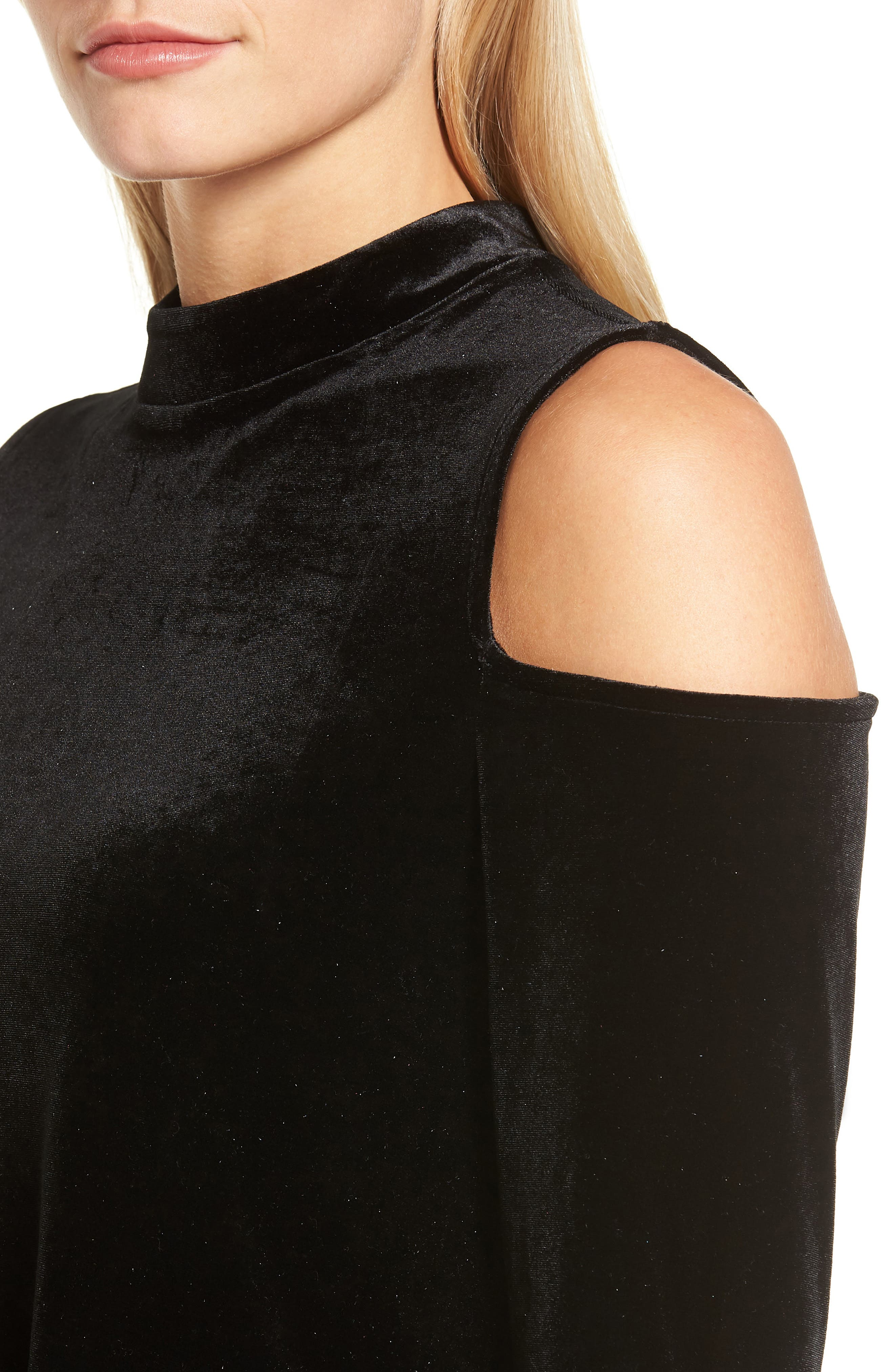 Velvet Cold Shoulder Top,                             Alternate thumbnail 4, color,                             Black