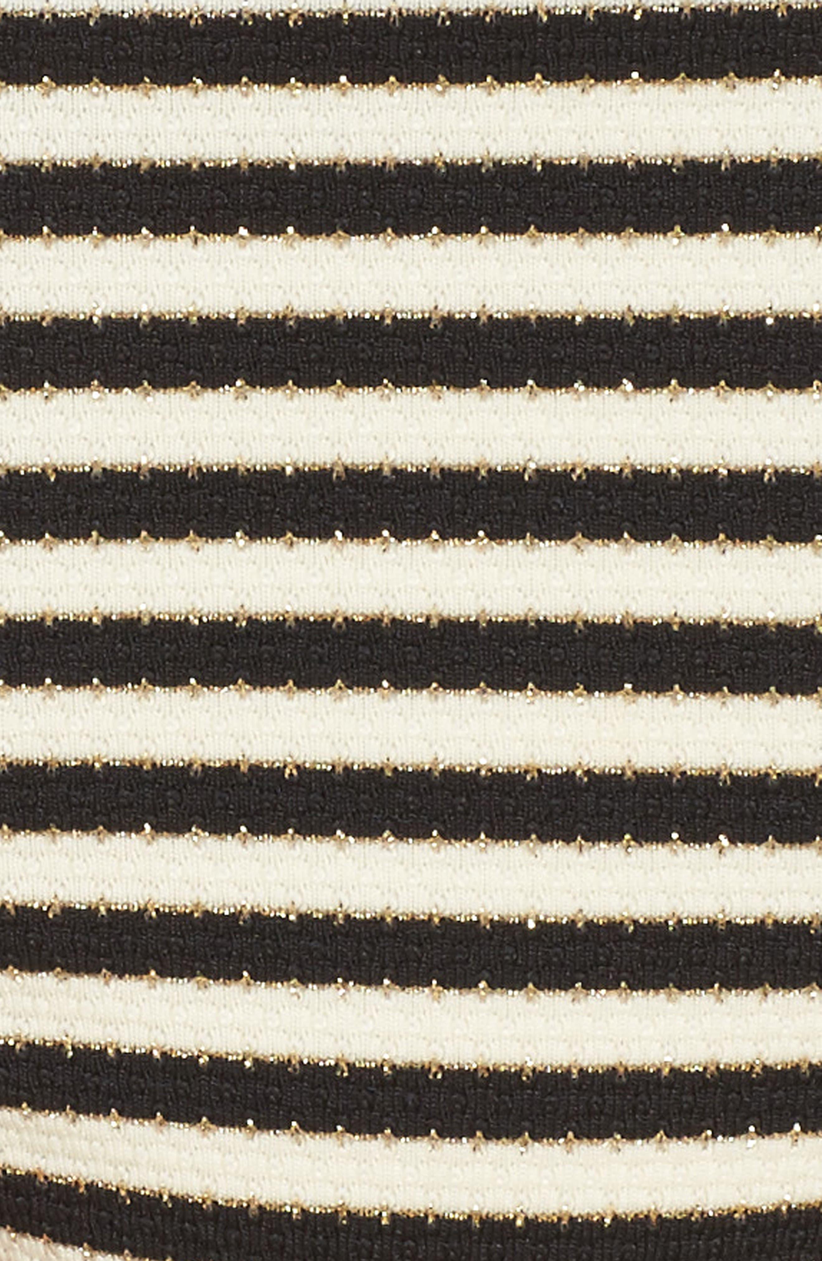 Carmen Stripe Bikini Bottoms,                             Alternate thumbnail 4, color,                             Black Ivory