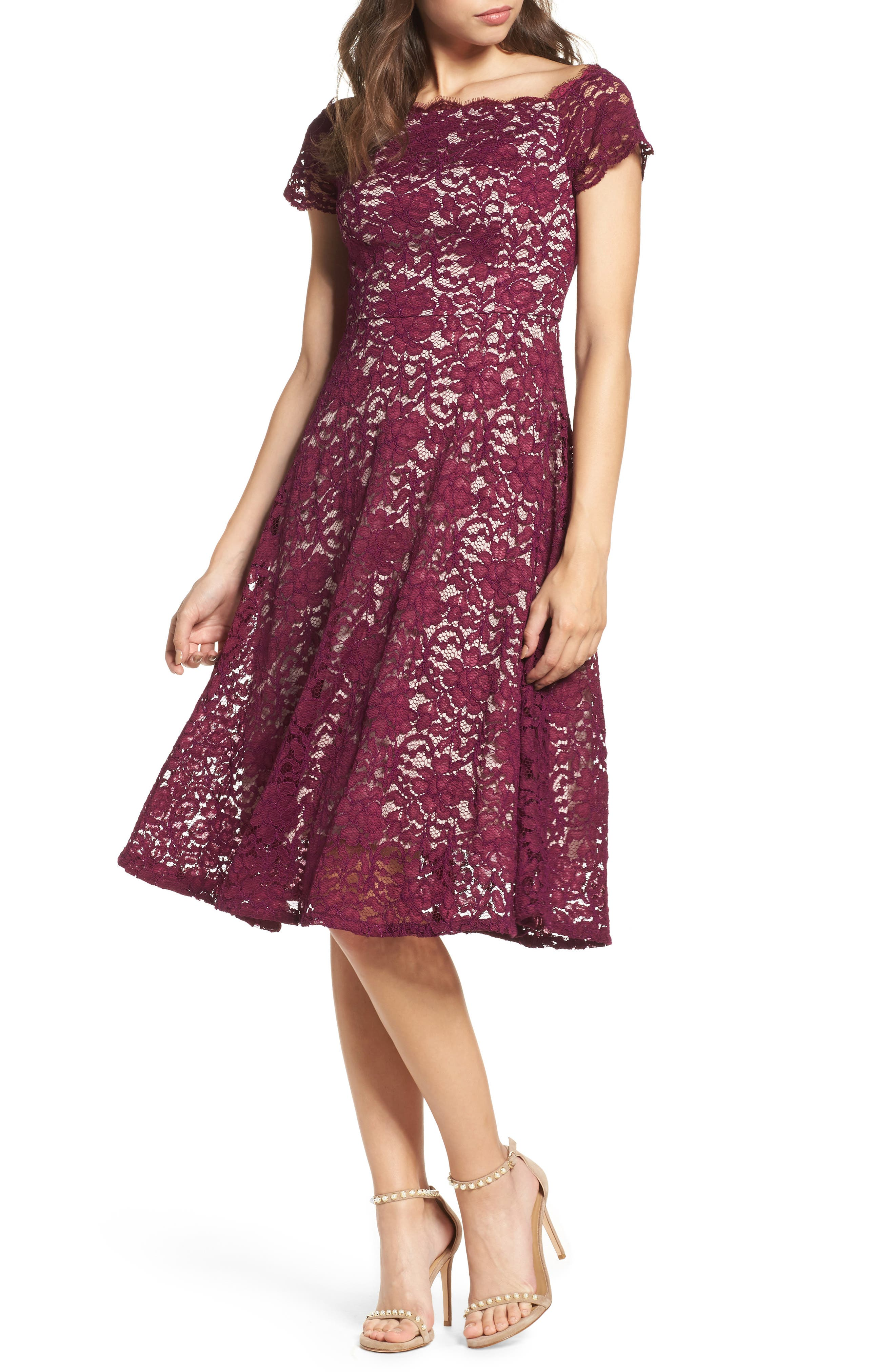 Lace Fit & Flare Dress,                         Main,                         color, Dark Magenta
