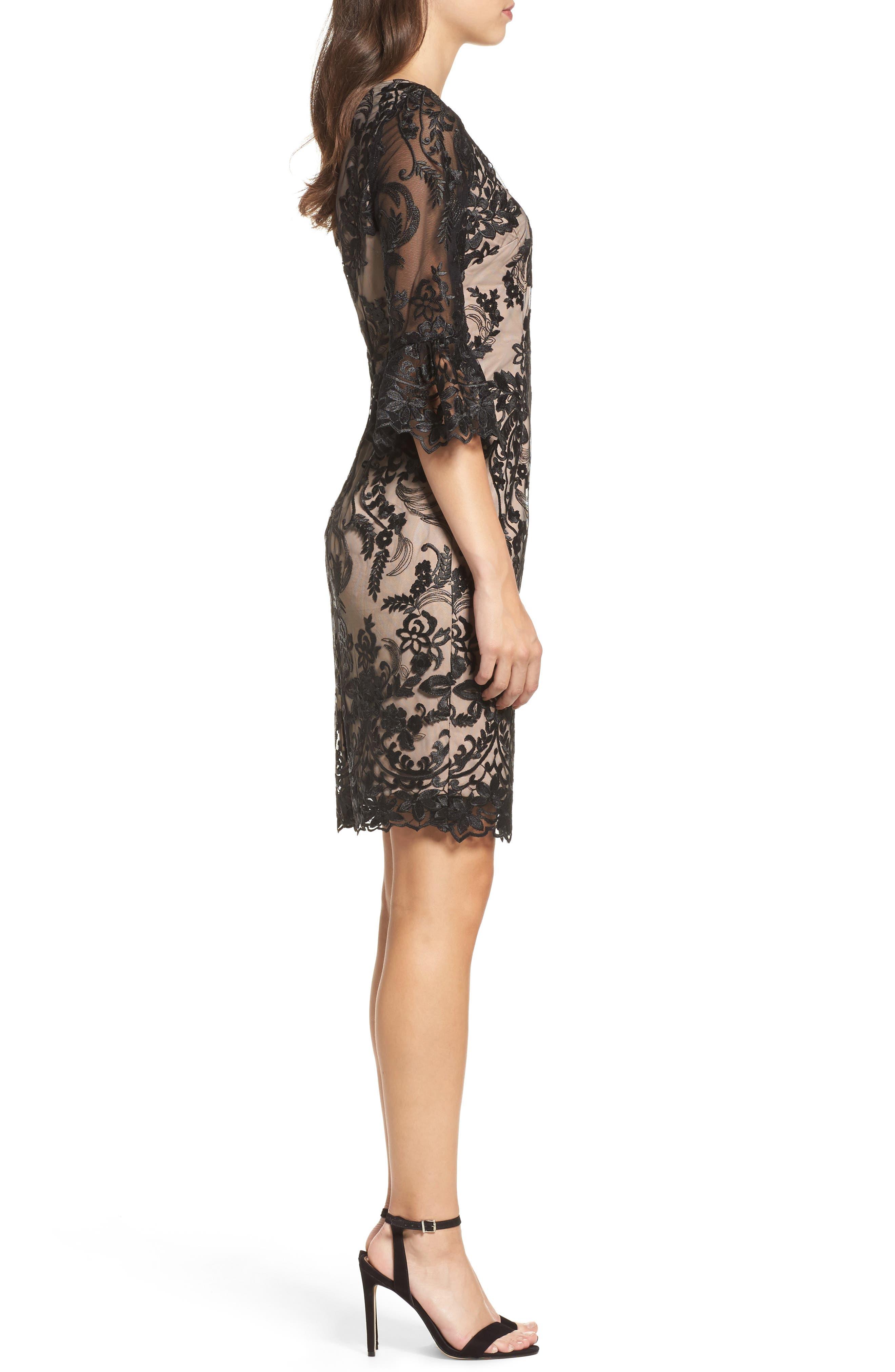 Eillen Embroidered Lace Dress,                             Alternate thumbnail 3, color,                             Black/ Bisque